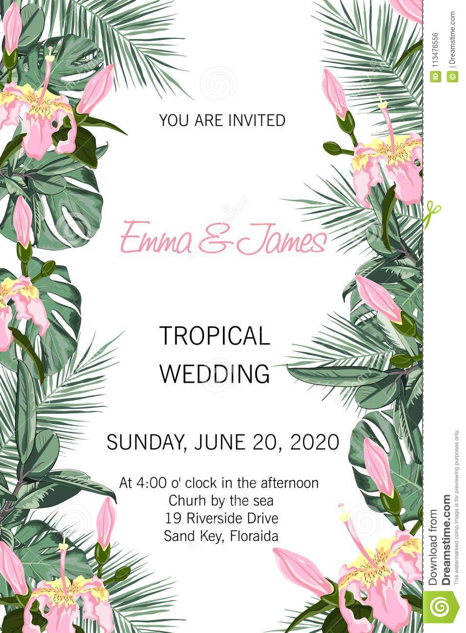 Tropical Vector Wedding Invitation Design With Hibiscus