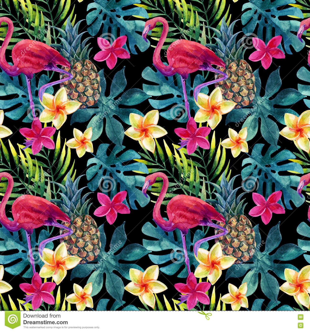 Tropical Watercolor Pineapple Flowers And Leaves With Shadows Stock Illustration Image 71217222