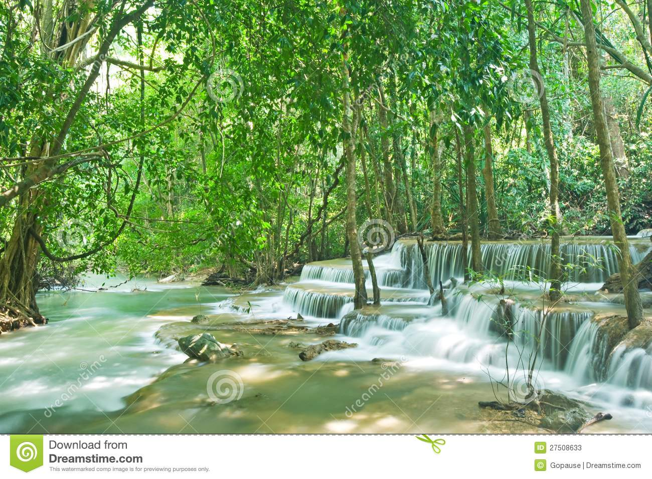 Tropical Waterfall In Forest Stock Photos - Image: 27508633