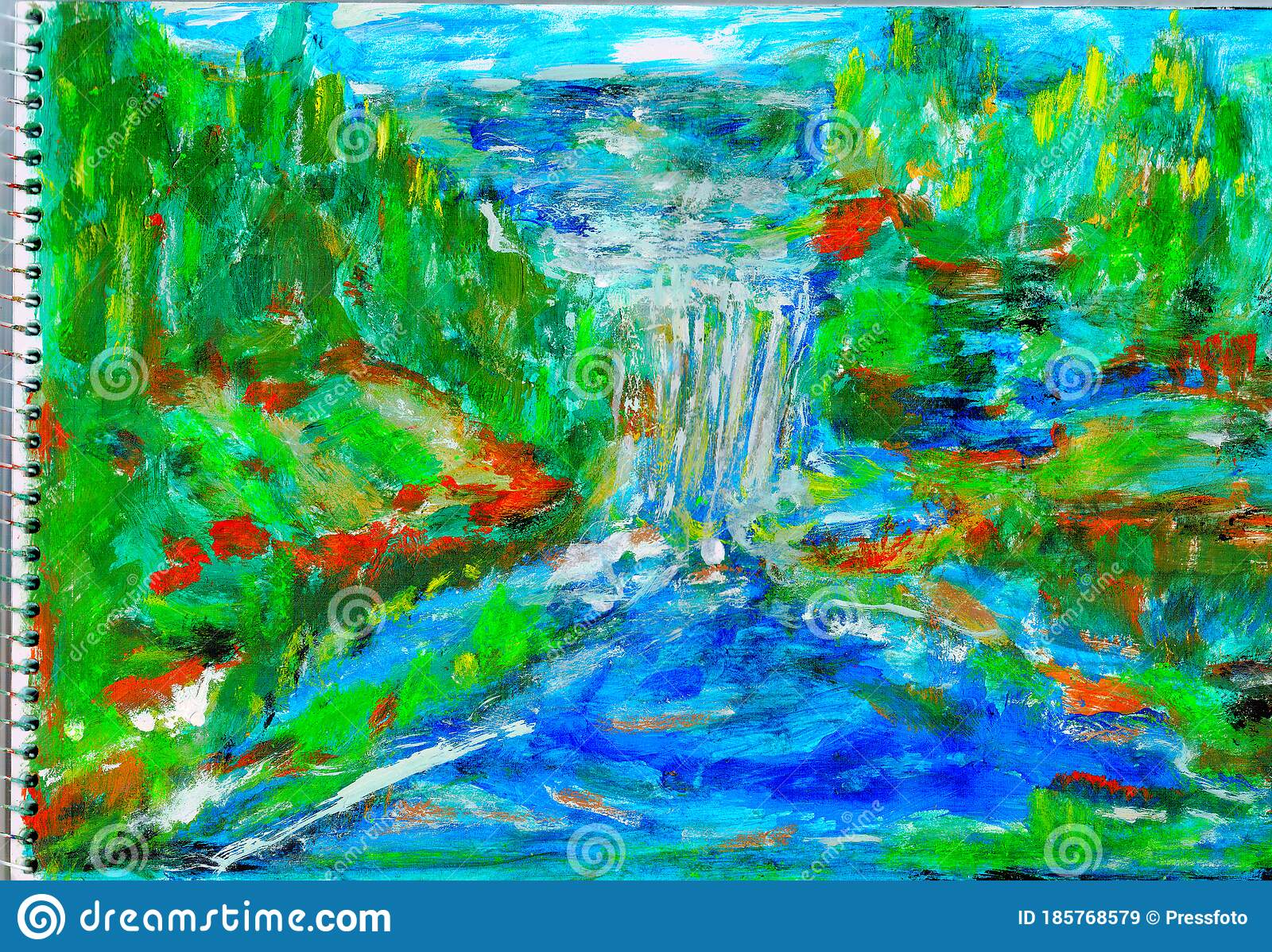 Tropical Waterfall Kids Paintings Editorial Stock Image Illustration Of Creativity Colorful 185768579