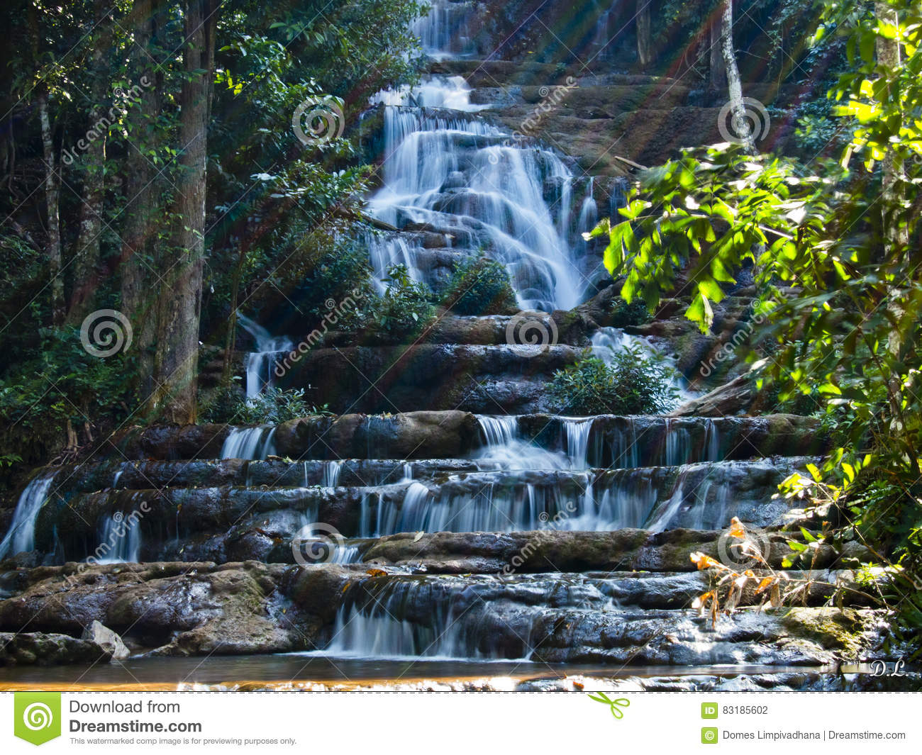 Tropical waterfall sunbeam nationalpark wallpaper stock photo download comp voltagebd Image collections