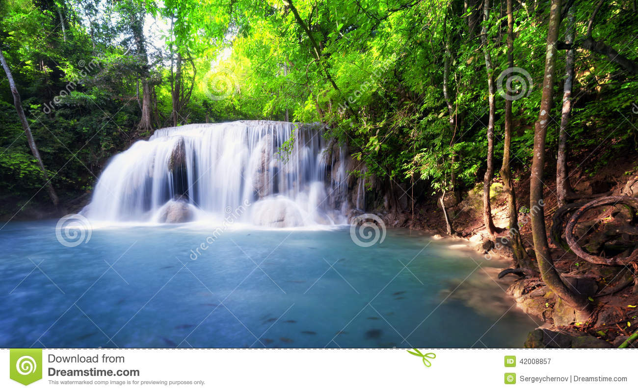 Tropical Waterfall In Thailand Nature Photography Stock