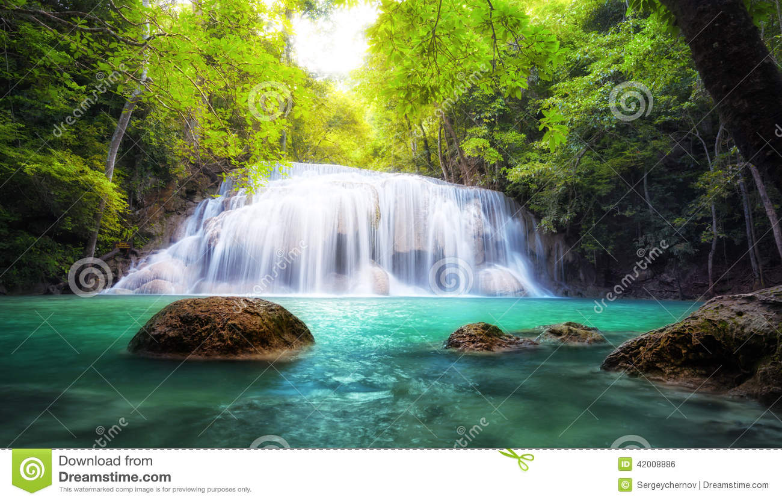 Beautiful waterfall in thailand s erawan waterfalls national park - Tropical Waterfall In Thailand Nature Photography Stock