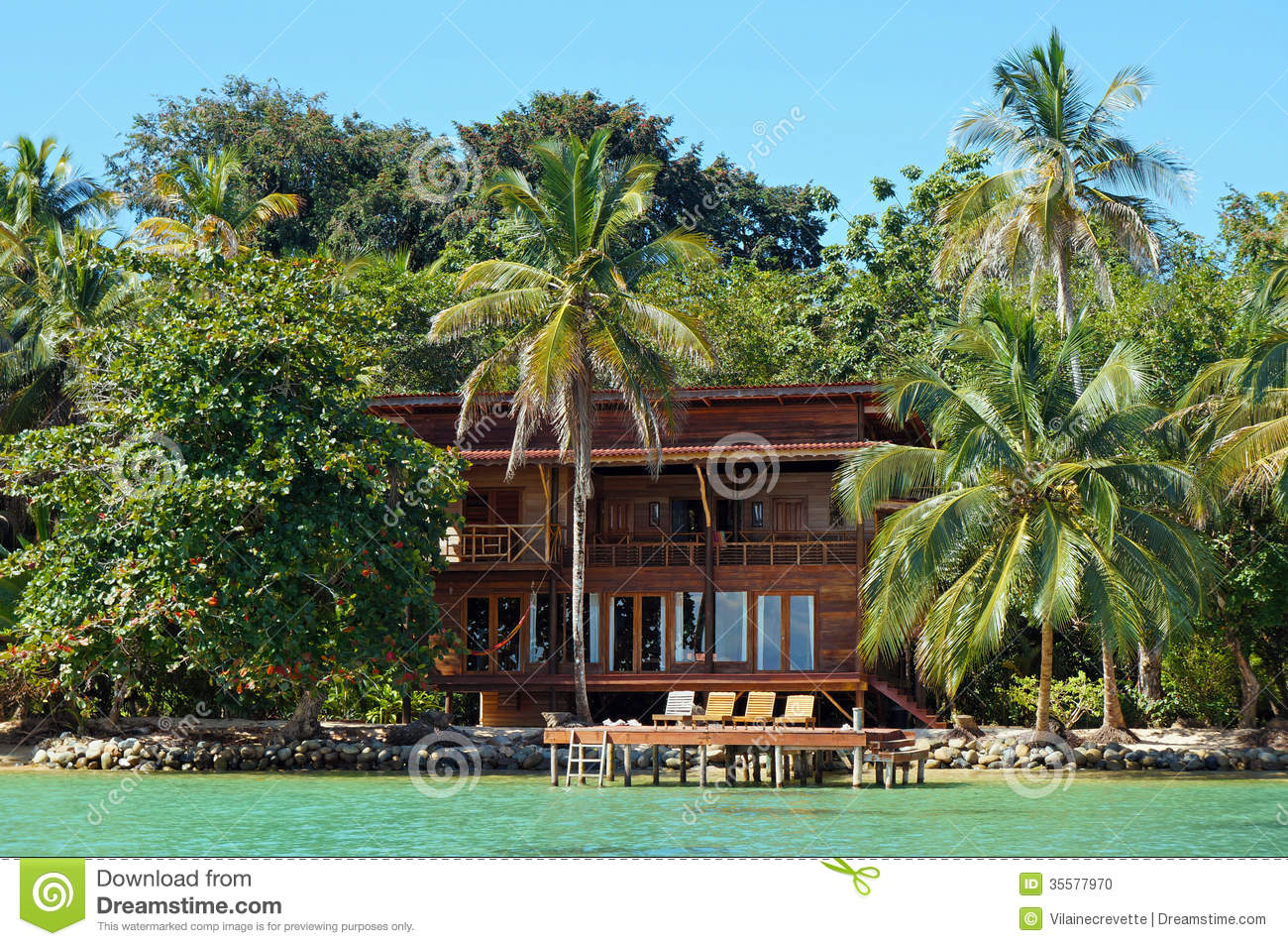 Sims 2 House Designs Floor Plans Tropical Waterfront Beach House Stock Photo Image 35577970