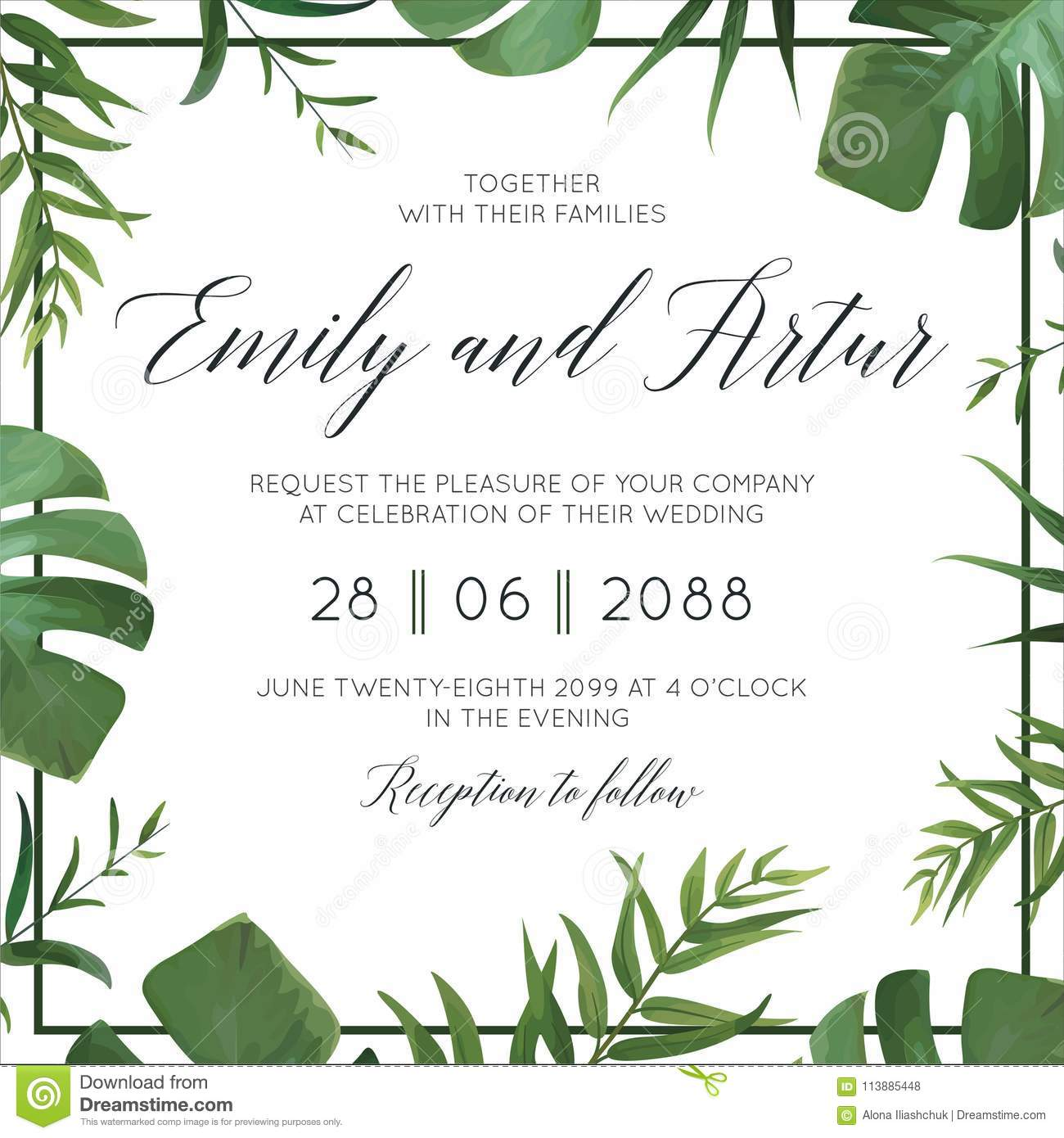 Tropical wedding floral invitation, invite card. Vector watercolor style exotic palm tree green leaves, forest greenery herbs, nat