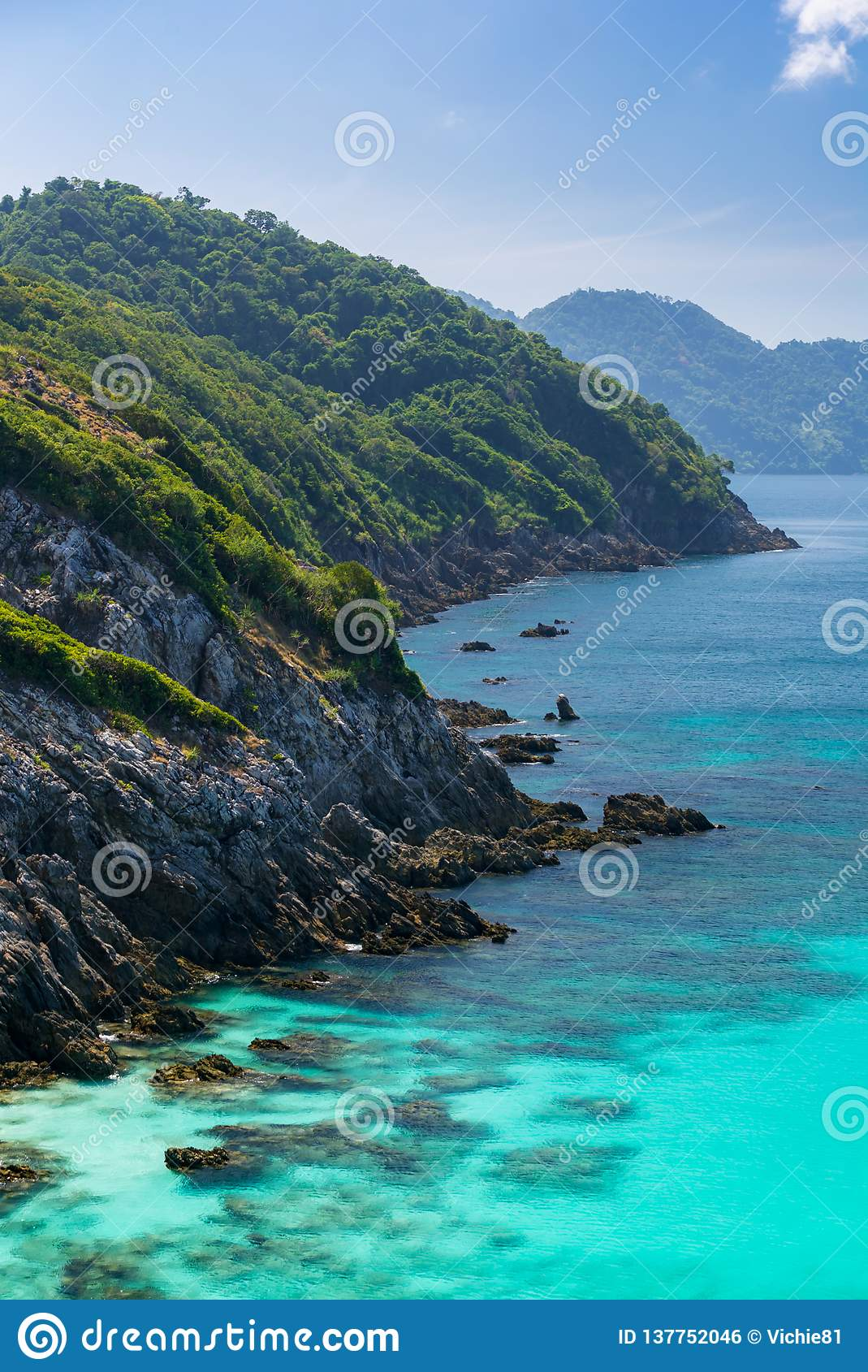 Tropical White Sand Beach Aerial Stock Photo - Image of ...