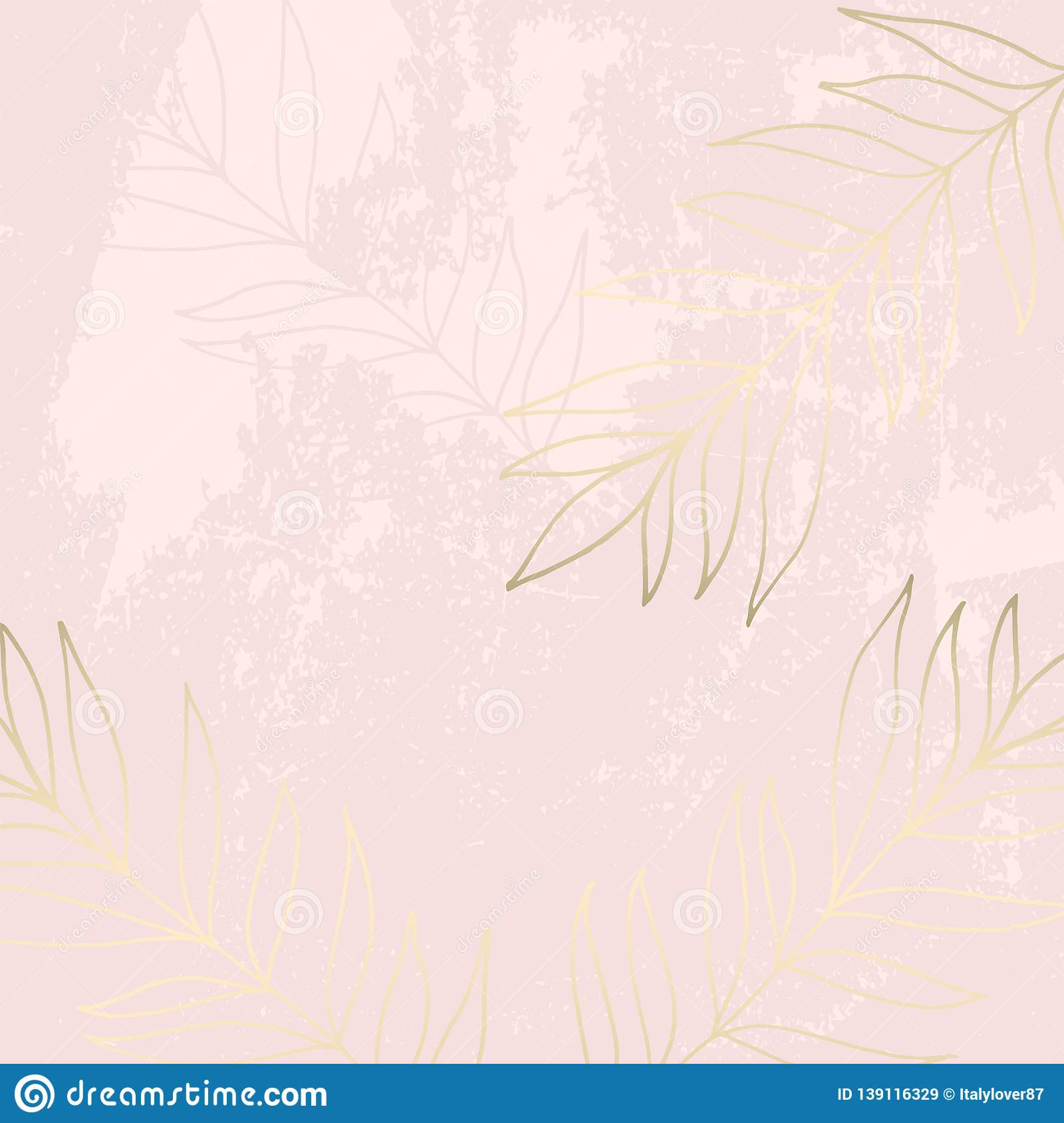 Tropical Worn Floral Pastel Pink Blush Gold Pattern Stock Vector Illustration Of Branch Pastel 139116329