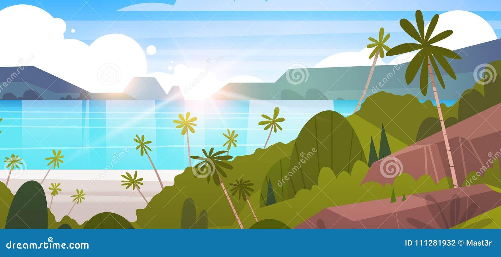 Tropikalna Krajobrazowa lato nadmorski plaża Z drzewkiem palmowym I górami