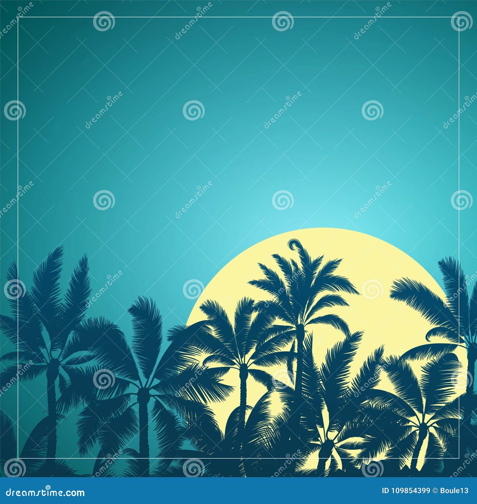 Tropikalna palma z księżyc niebieskim niebem i wschodem słońca