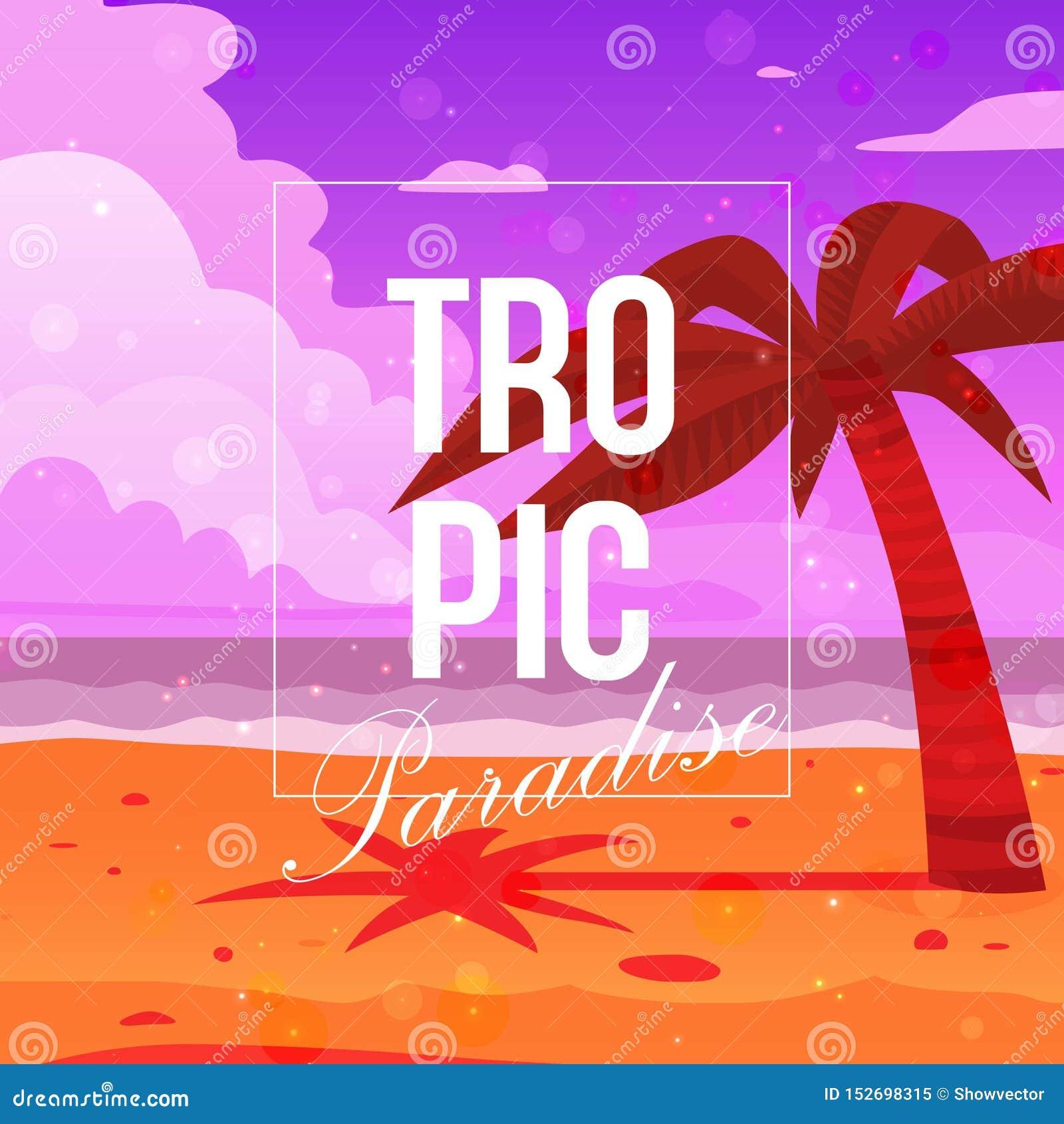 Tropikalna raju tła sztandaru wektoru ilustracja Drzewko palmowe na plażowym pobliskim oceanie Piaska, niebieskiego nieba i morza