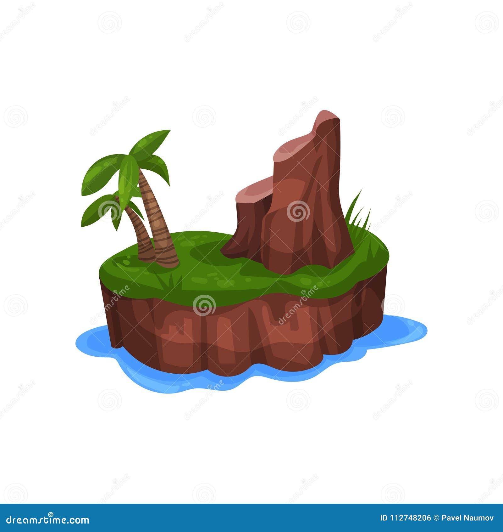 Tropikalna wyspa w oceanie z drzewka palmowego i góry wektorową ilustracją na białym tle