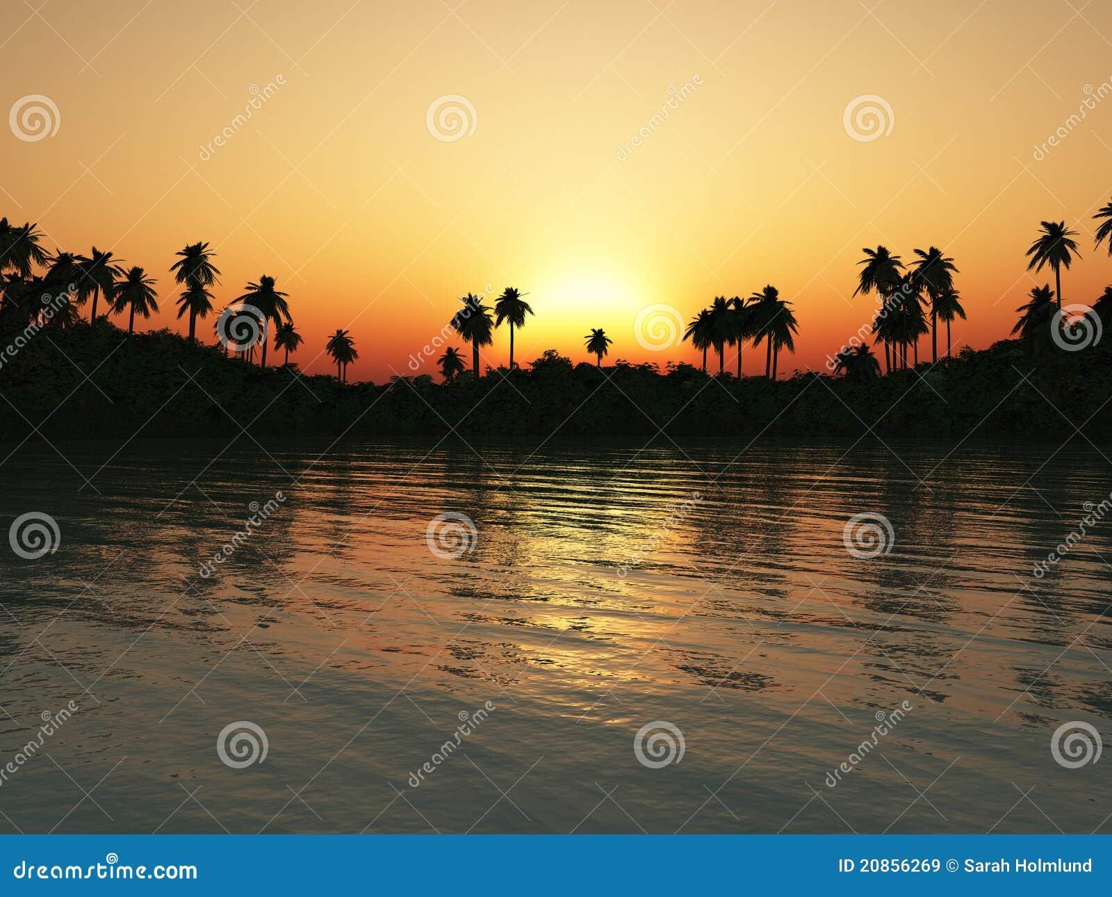Tropikalny laguna zmierzch
