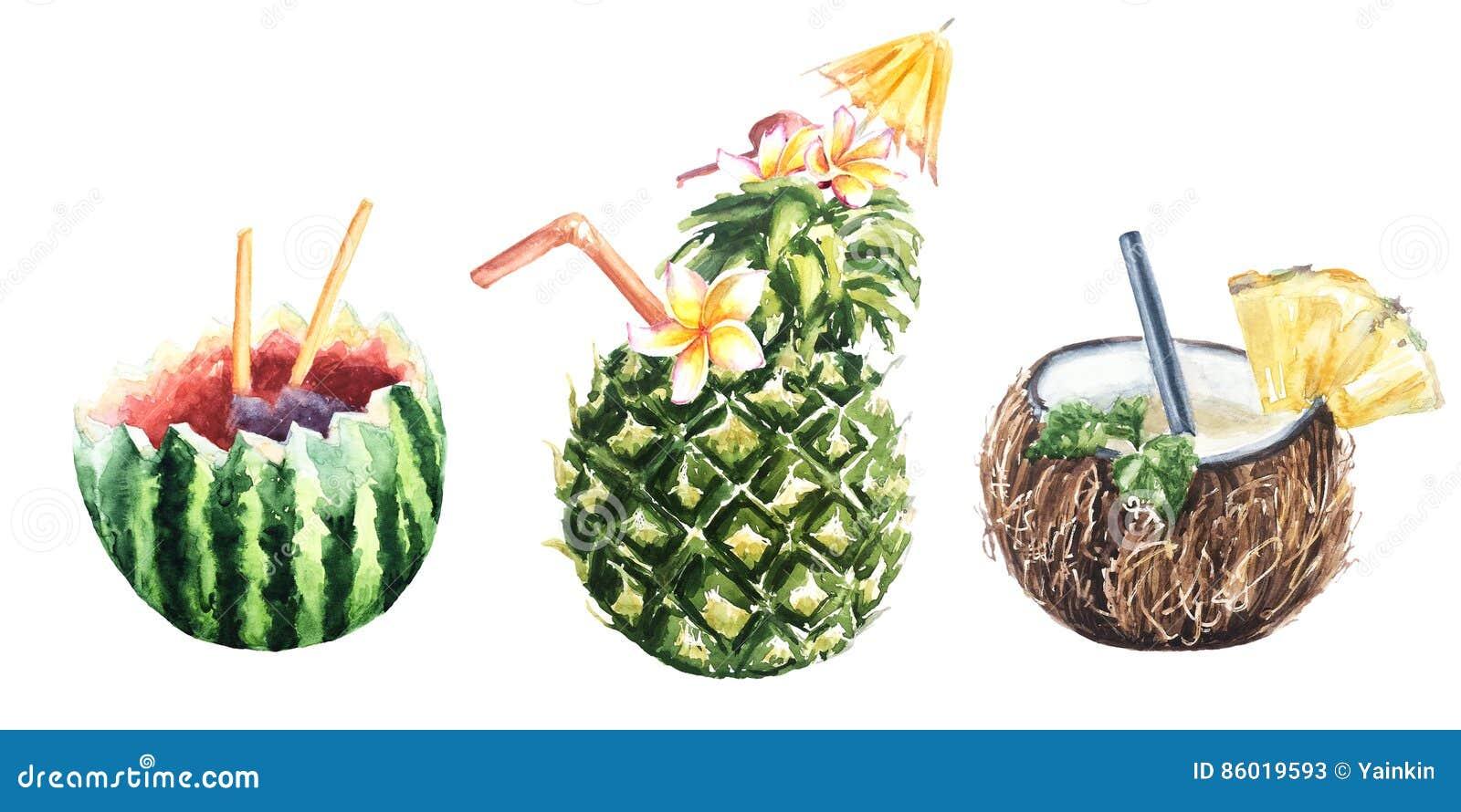 Tropikalny owocowego koktajlu ananas, koks i arbuz,