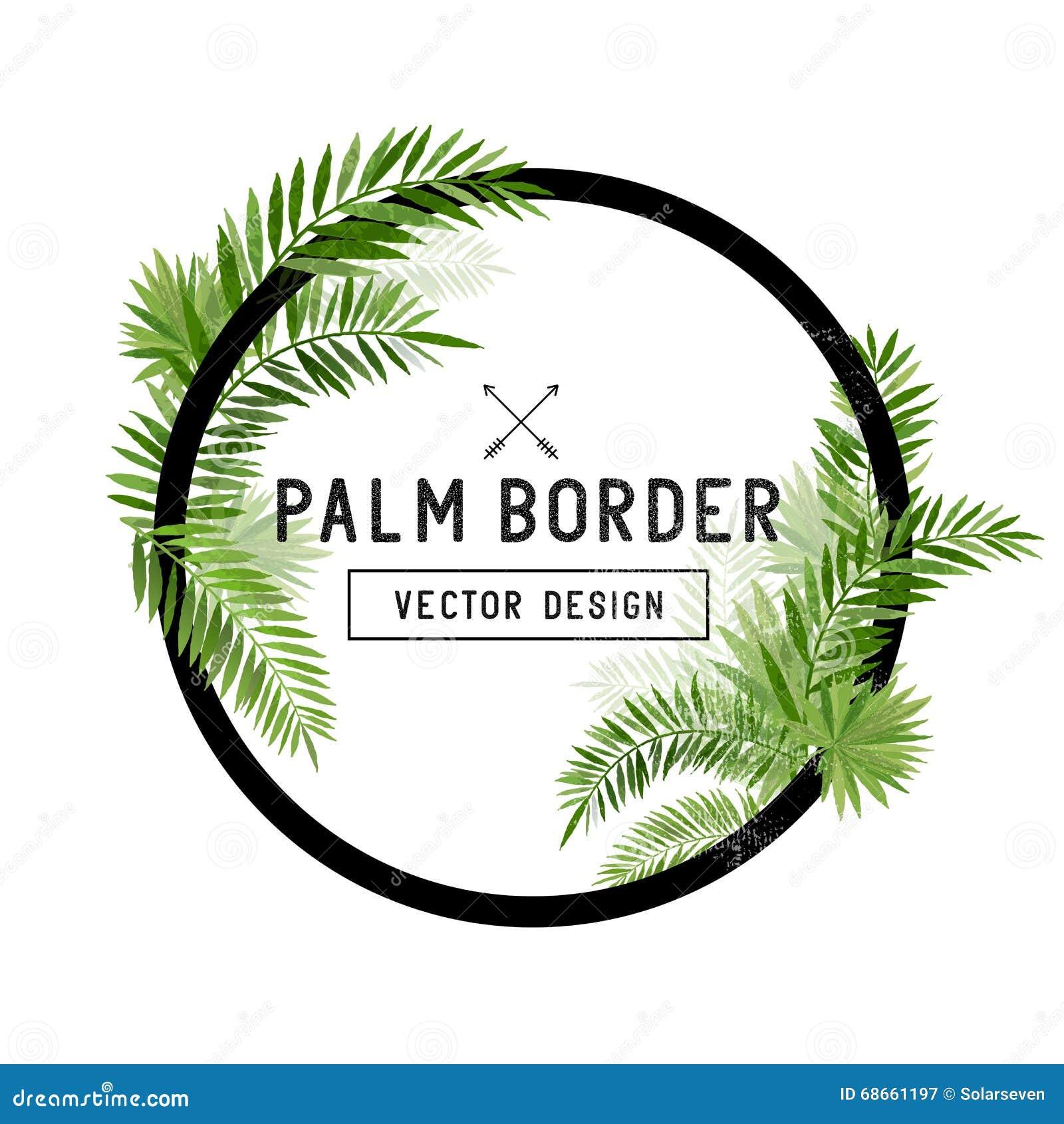 Tropikalny Palmowego liścia granicy wektor