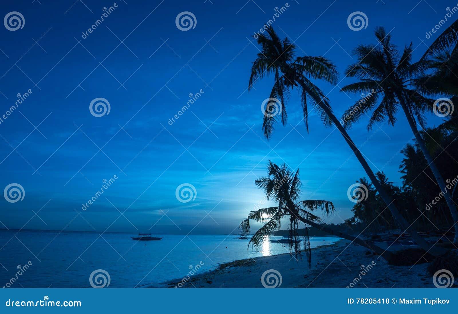 Tropikalny plażowy tło noc widok od Dumaluan plaży