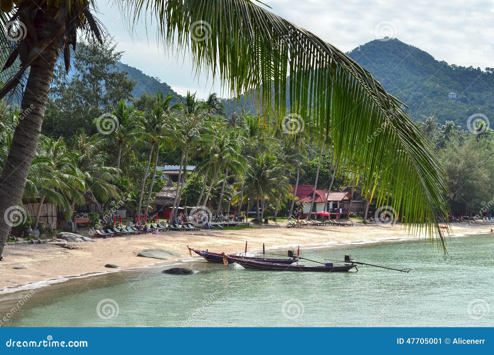 Tropikalny raj - longtail łodzi niedaleka piaskowata plaża i closeu