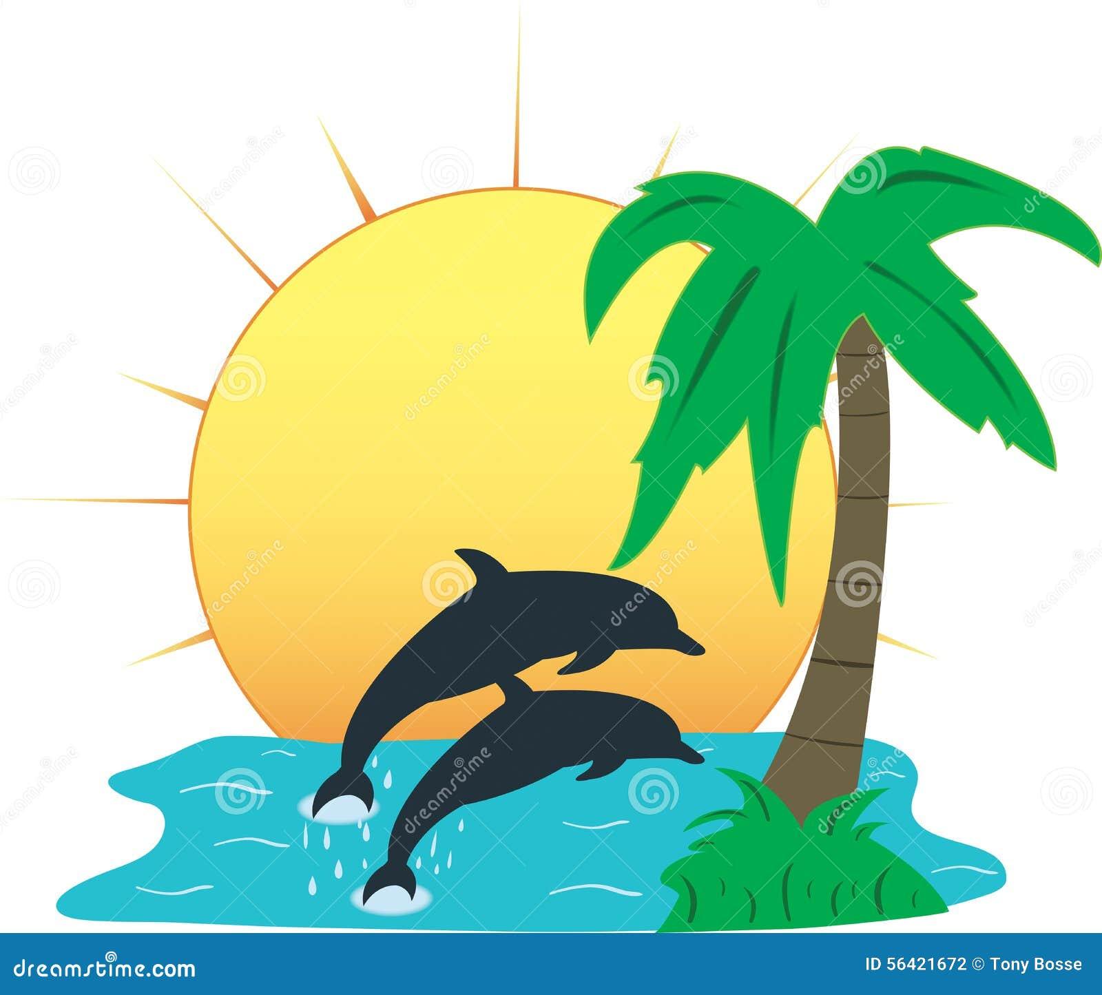 Tropikalny raj, Wektorowa ilustracja