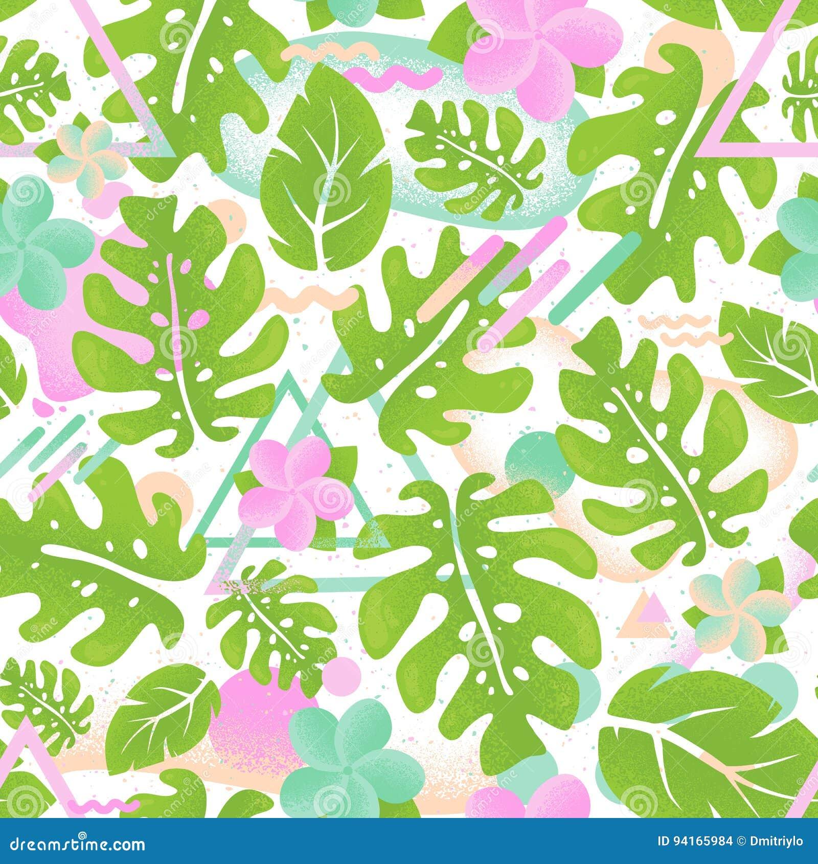 Tropisch groen het palmblad naadloos patroon van de hipsterwildernis