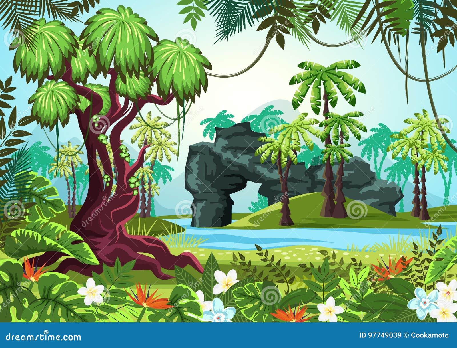 Tropisch hout, wildernisbos met palmen en rivier