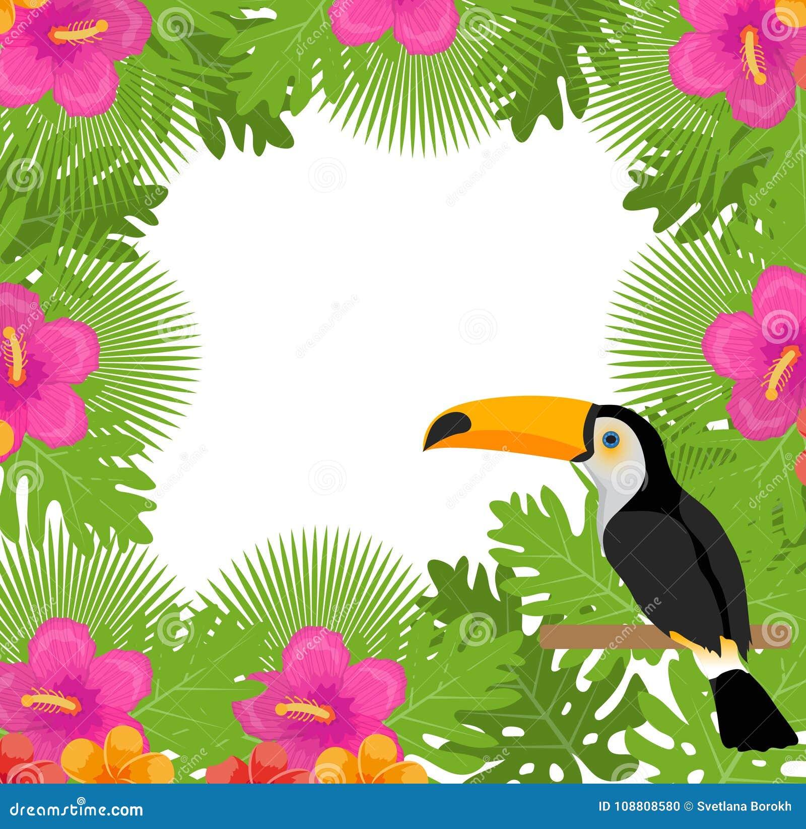 Tropisch kader met bloemen, installaties en vogeltoekan De zomer bloemenmalplaatje voor uw ontwerp Exotische achtergrond Vector