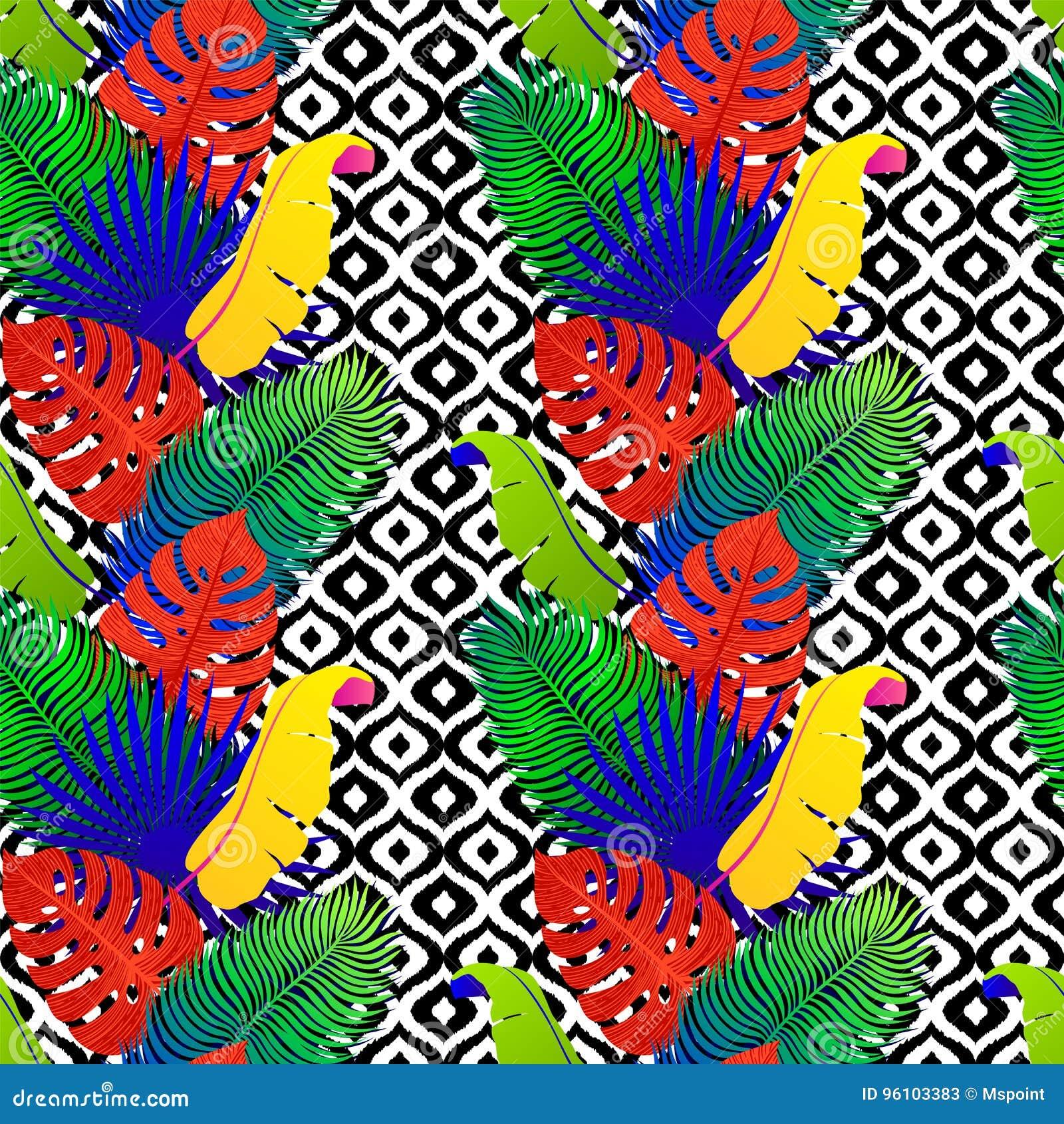 Tropisch naadloos patroon met exotische levendige bladeren op zwart-witte stammenachtergrond Monstera, palm, banaanbladeren