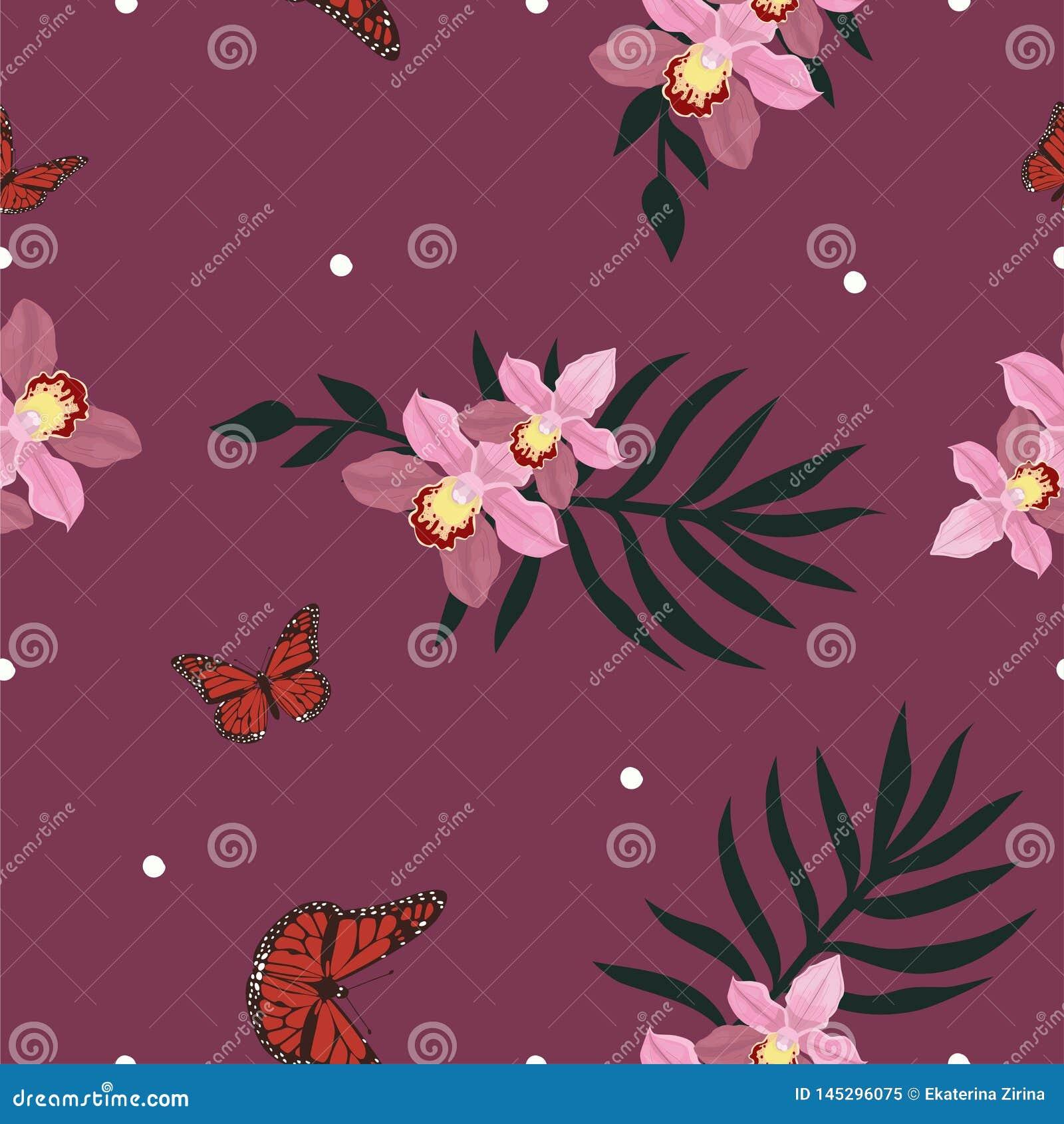 Tropisch naadloos patroon met orchidee?nbloemen Tropisch bloemenbehang dat op witte achtergrond wordt ge?soleerd