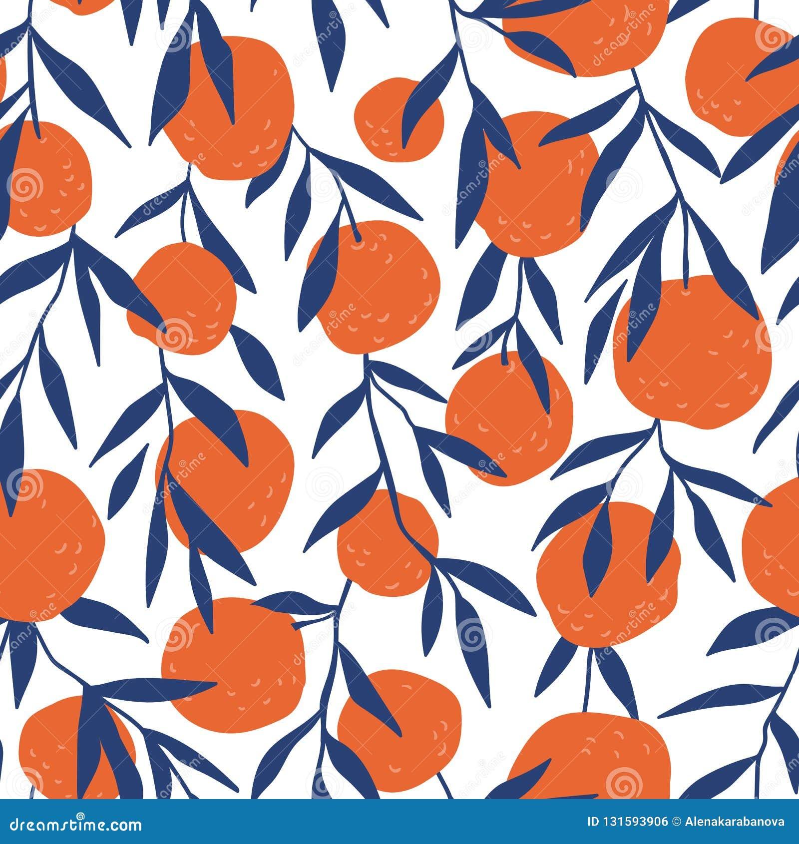 Tropisch naadloos patroon met rode sinaasappelen De achtergrond van het fruit Vector heldere druk voor stof of behang