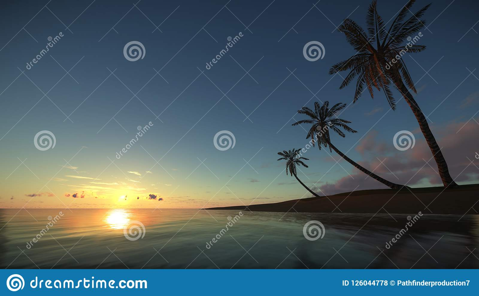 Tropisch Paradijs bij verbazende zonsondergang