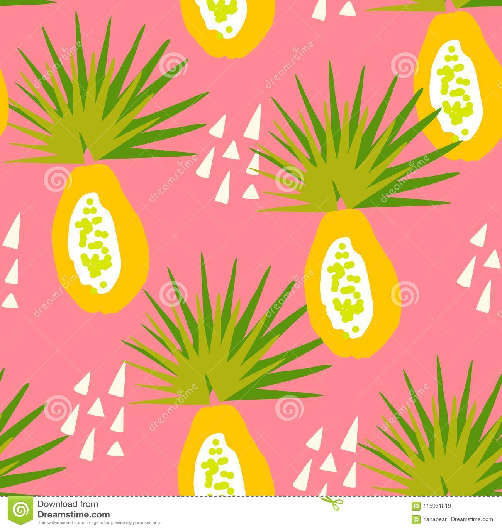 Tropisch patroon met papaja en abstracte elementen op roze achtergrond Ornament voor textiel en het verpakken