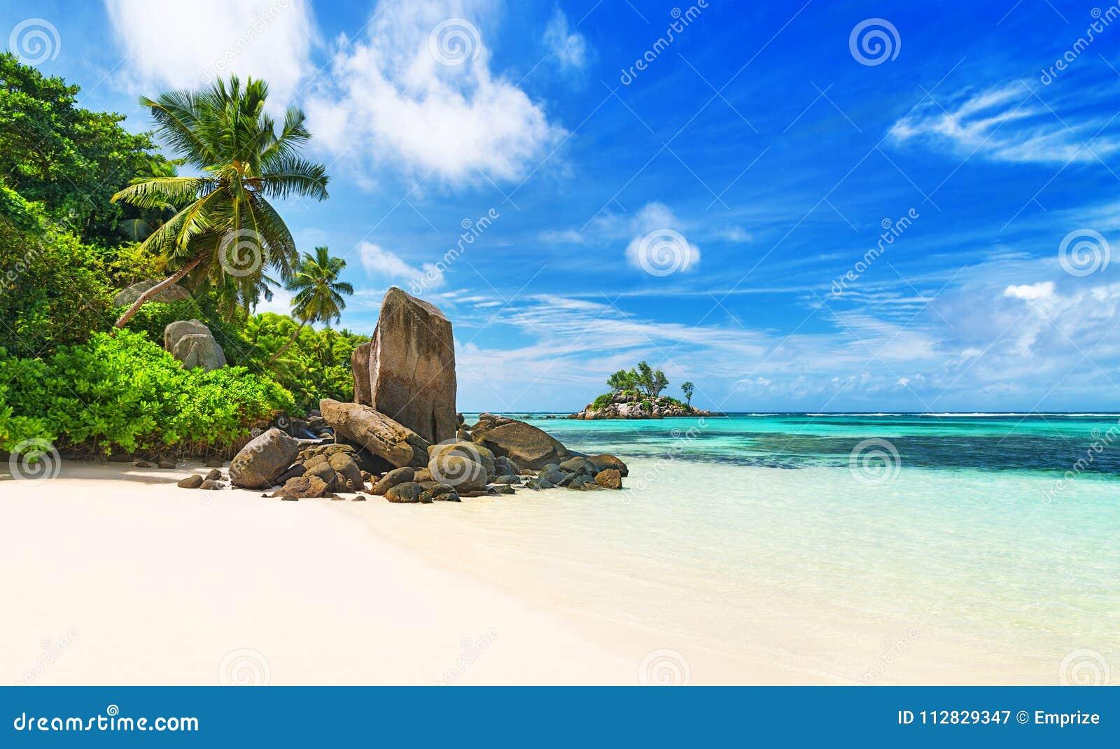 Tropisch strand Anse Royale bij eiland Mahe, Seychellen