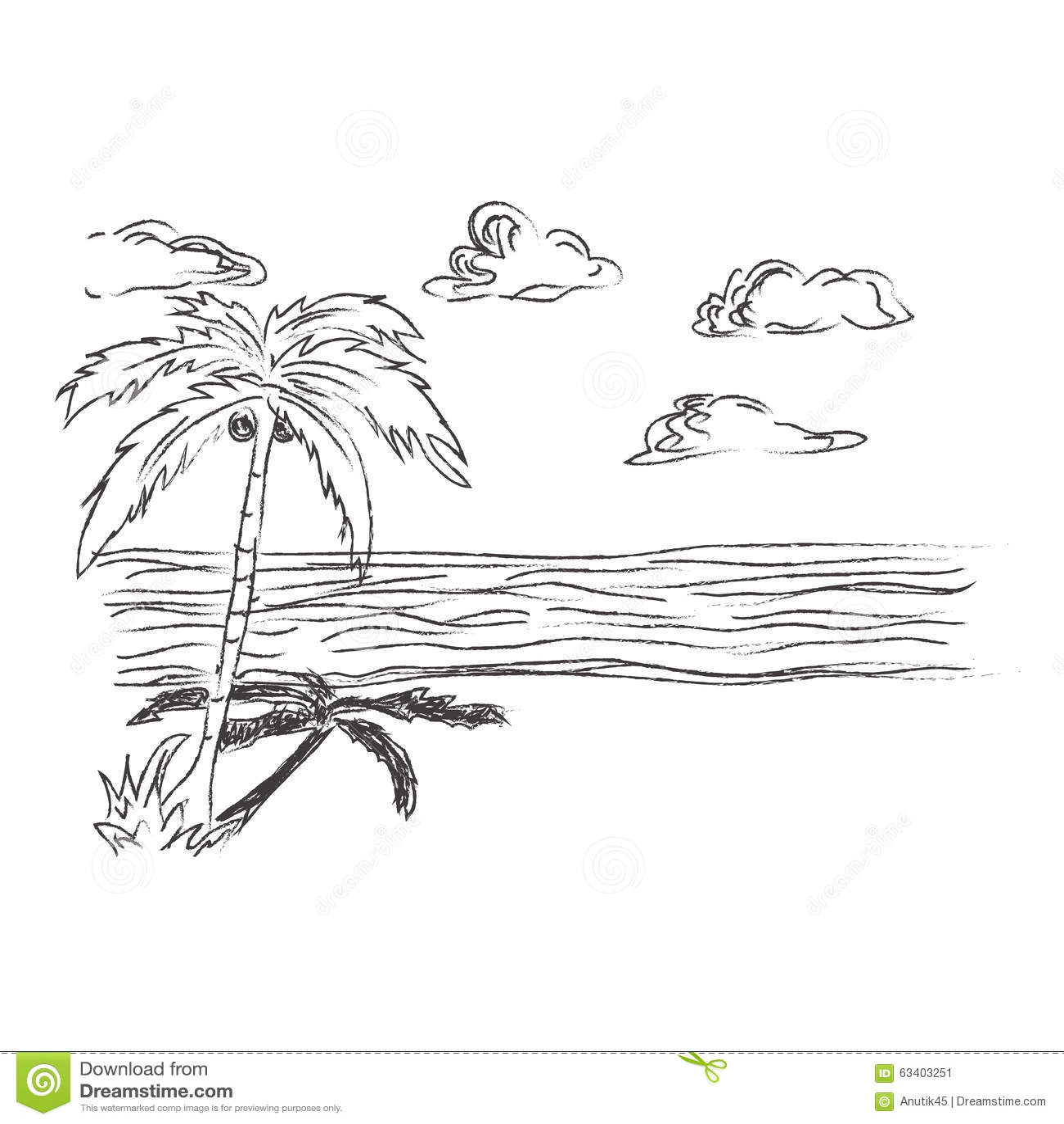 Strand clipart schwarz weiß  Tropisch, Strand, Skizze, Clipart Stockfoto - Bild: 63403251