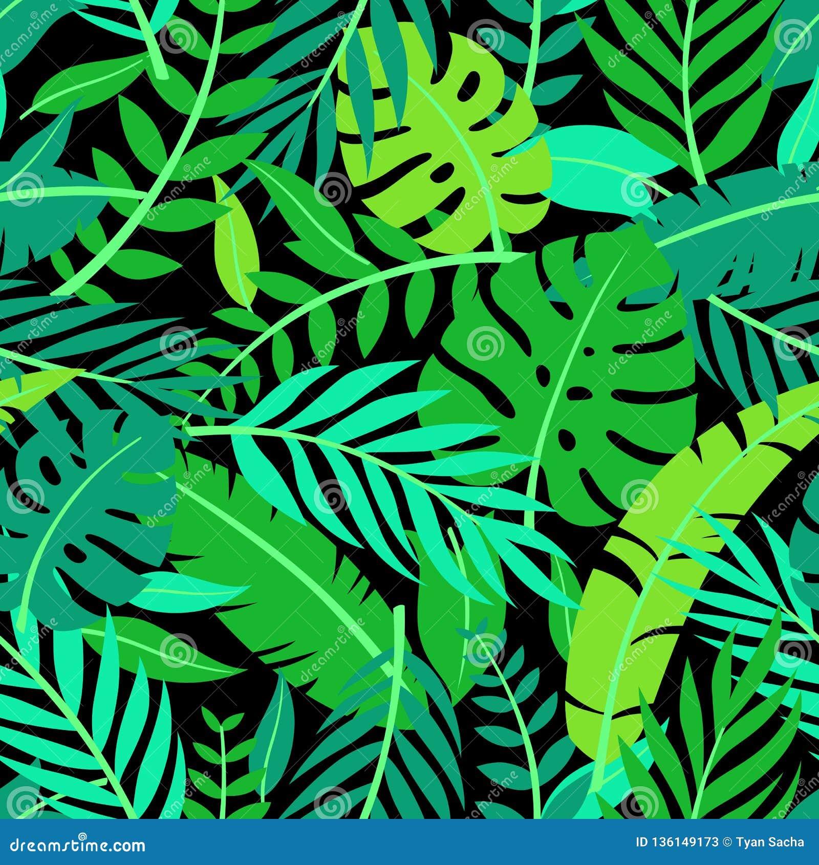 Tropisch vector kleurrijk bladeren naadloos patroon