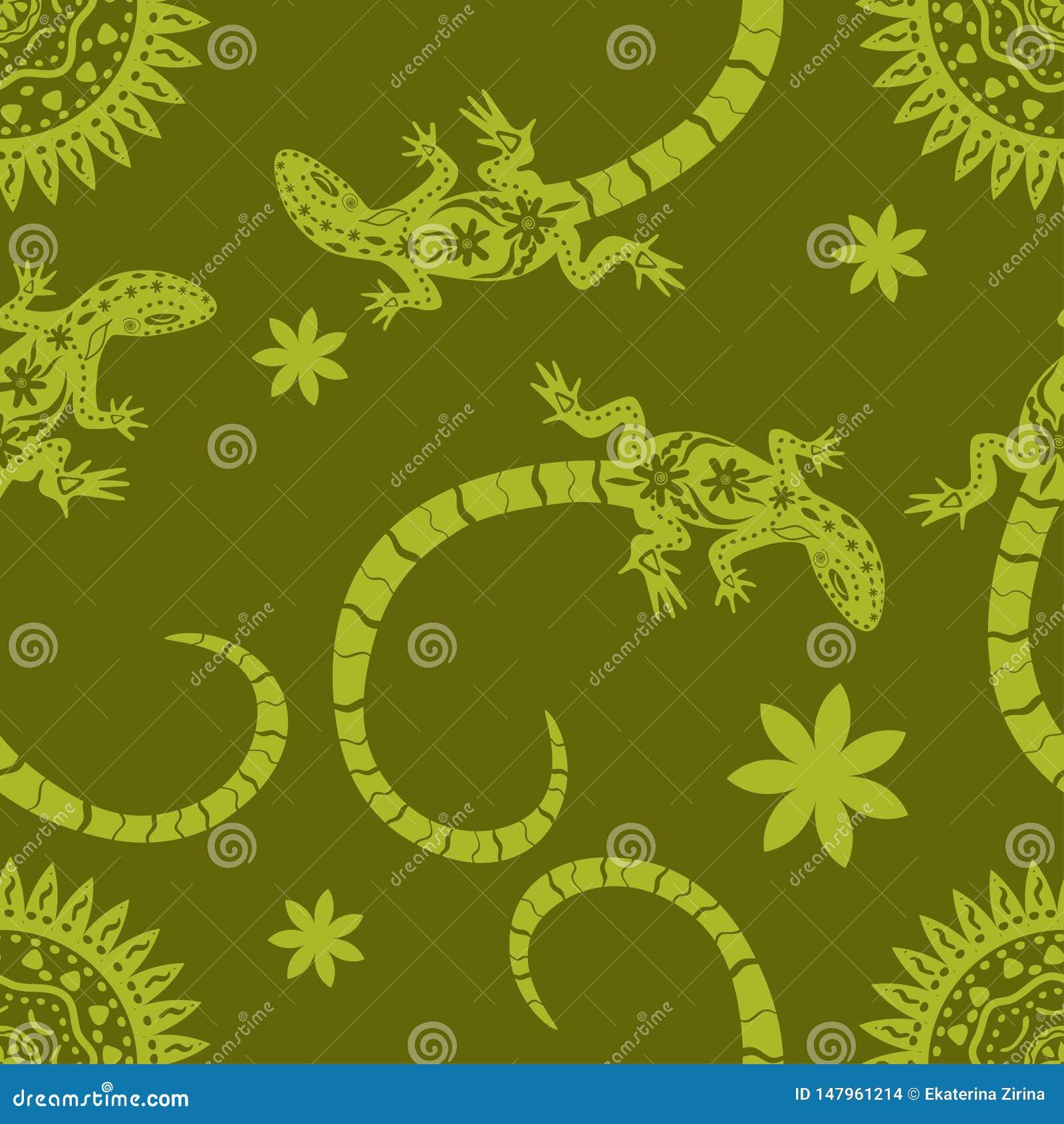 Tropische achtergrond van bloemen, zon en hagedissen Naadloze patroon Exotische vectorillustratie Wildernis vlakke druk