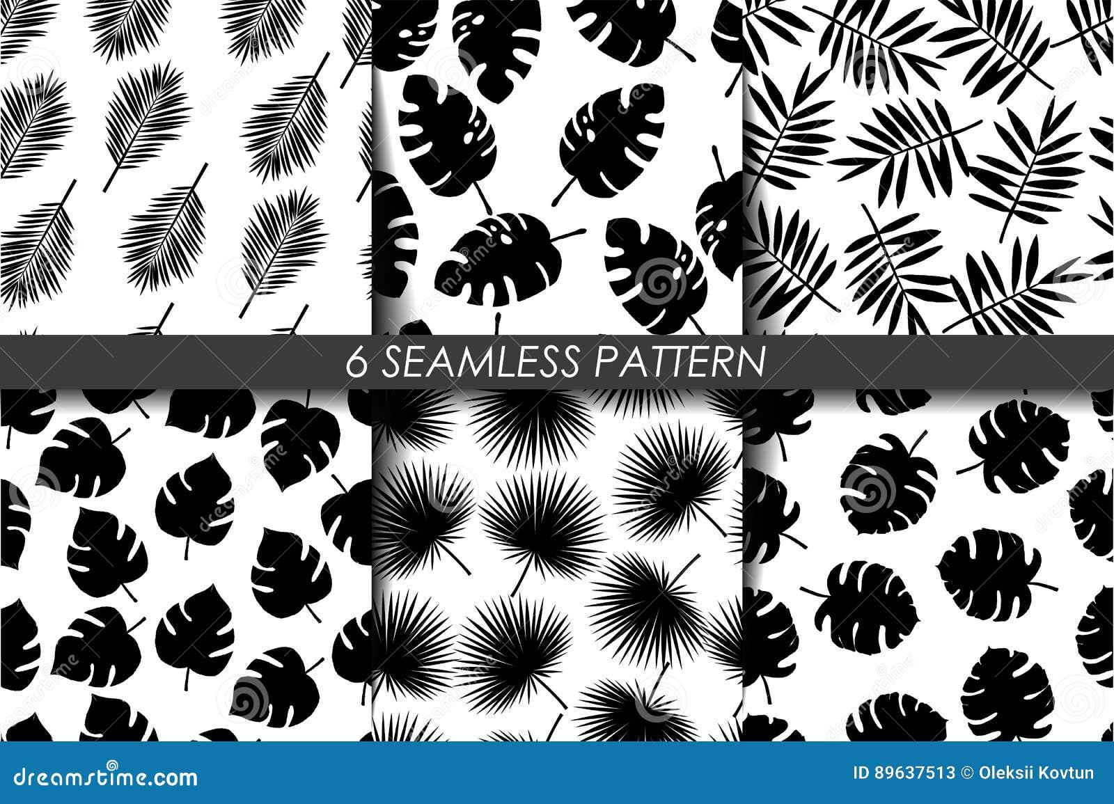 Tropische Bladeren De naadloze Reeks van het Patroon Vector Inzameling van zwart-wit het herhalen 6 patroon in monster Rebecca 36