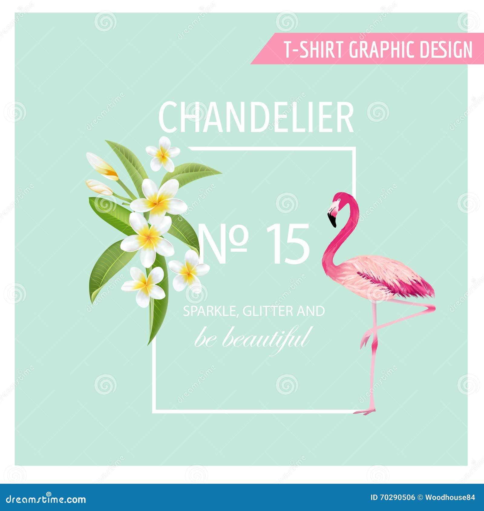 Tropische bloemen en bladeren Flamingo aquatische vogel