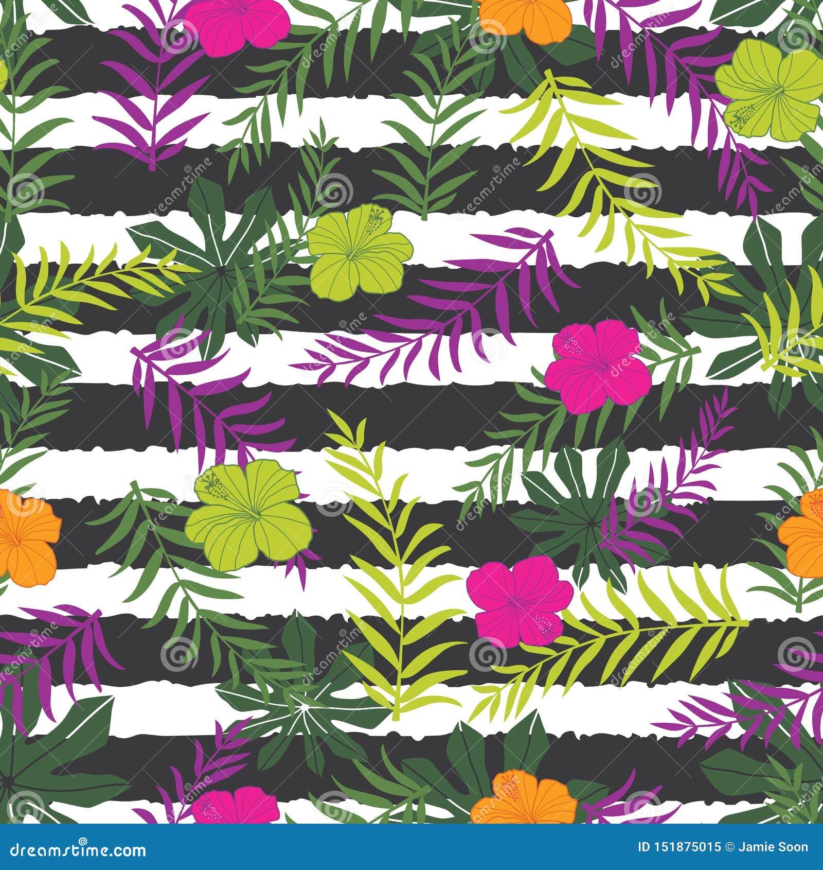 Tropische Blumen des Vektors und Farnblätter auf Streifenhintergrund Passend für Geschenkverpackung, -gewebe und -tapete