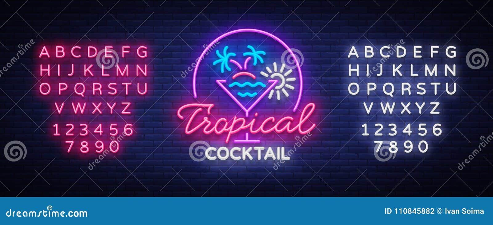 Tropische Cocktailleuchtreklame Cocktail-Logo, Neonart, helle Fahne, Nachthelle Neonwerbung für Cocktail-Bar