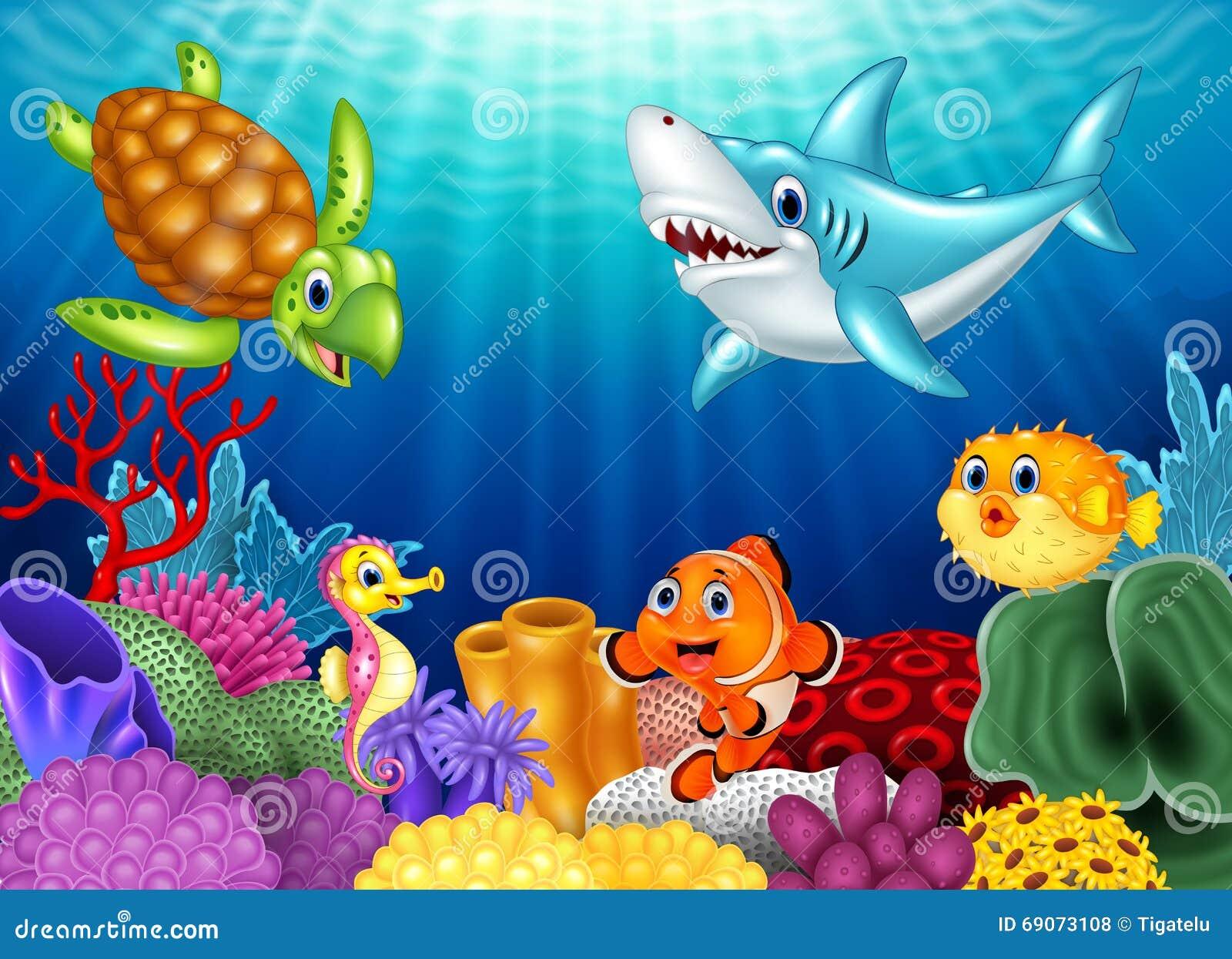 Tropische Fische Der Karikatur Und Schöne Unterwasserwelt Mit