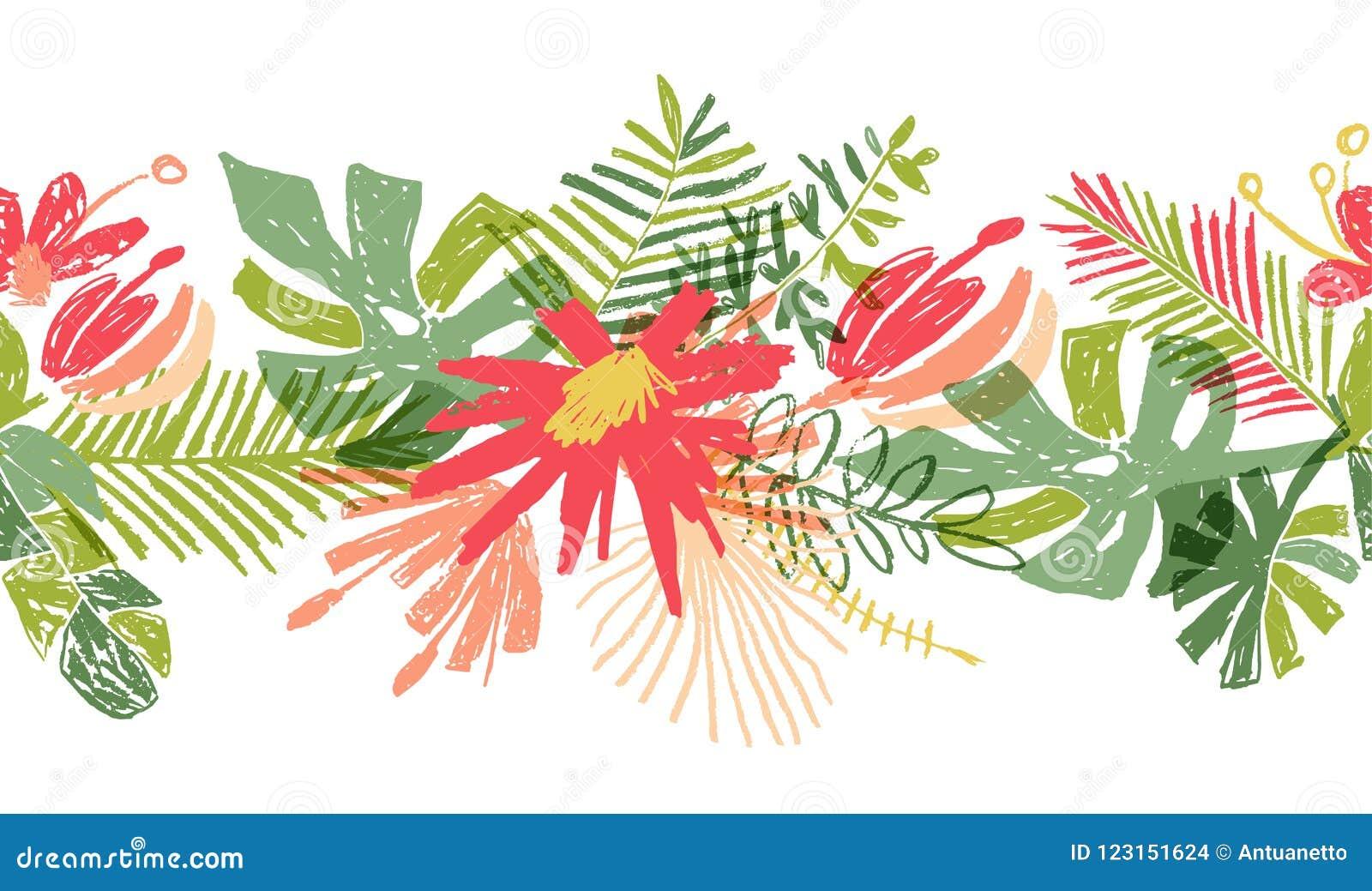 Tropische gezeichneter Titel oder Grenze der Blume Hand