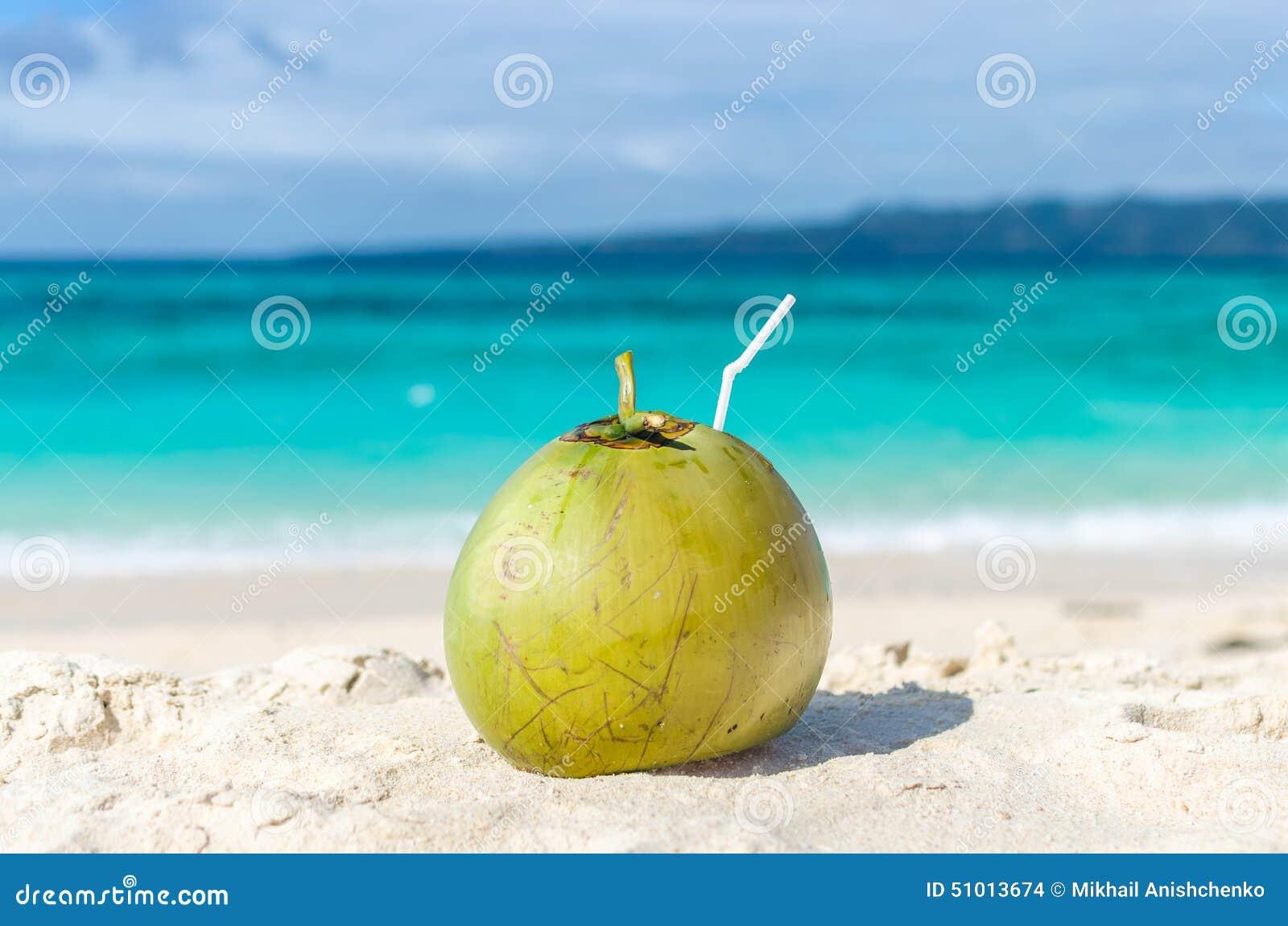 Tropische groene kokosnoot met stro op wit exotisch zandig strand