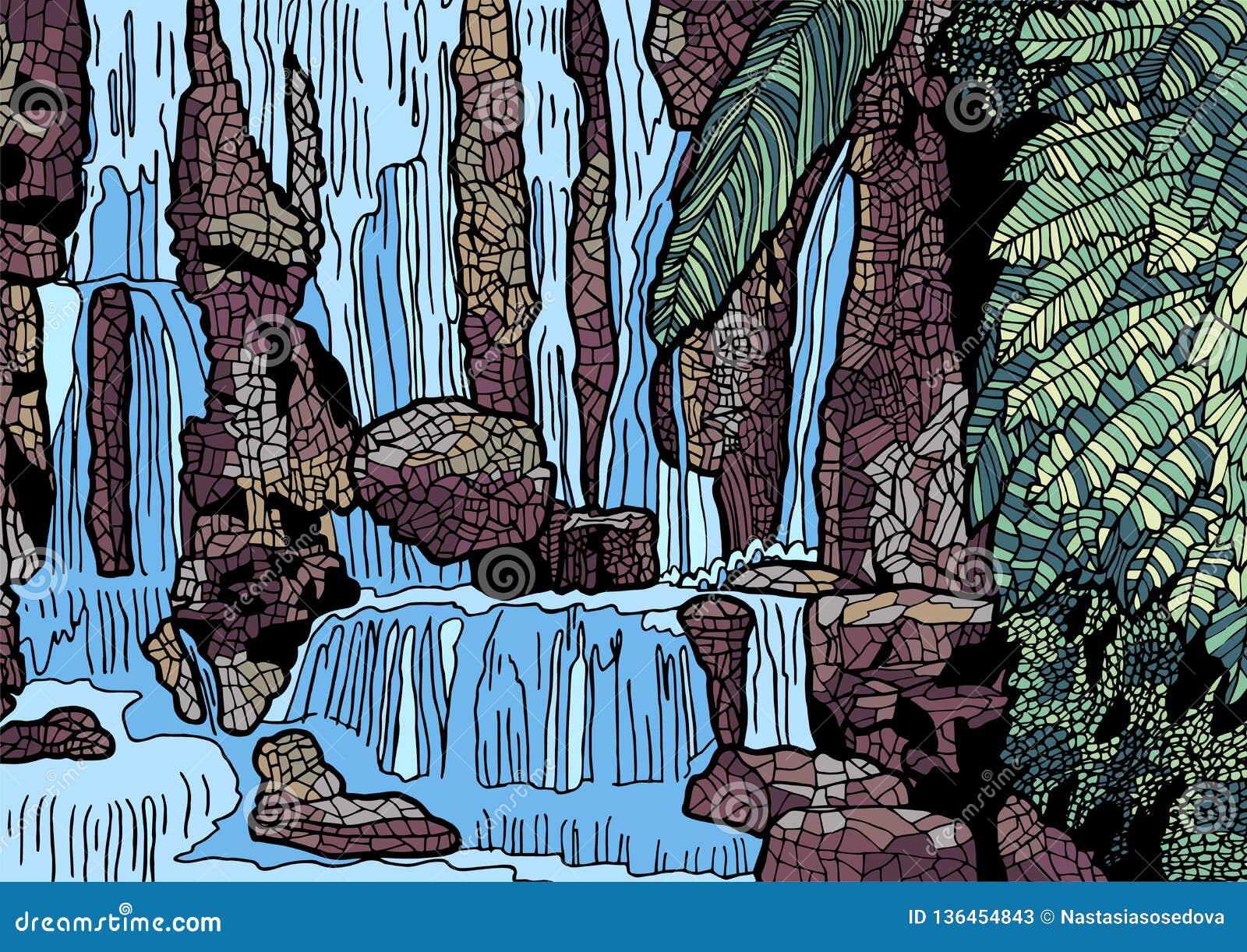 Tropische Landschaft mit Wasserfallillustration