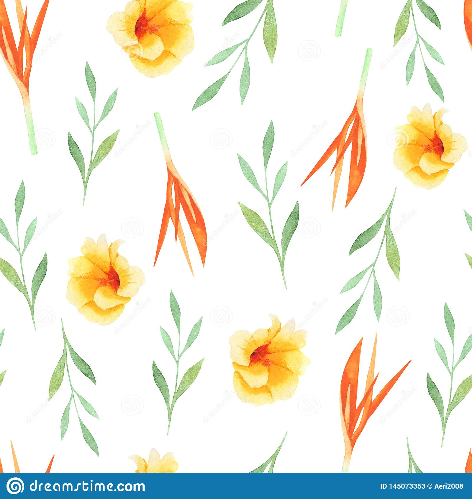 Tropische Malerei des Aquarells des Blattes und der Blumen, nahtloses Muster auf wei?em Hintergrund