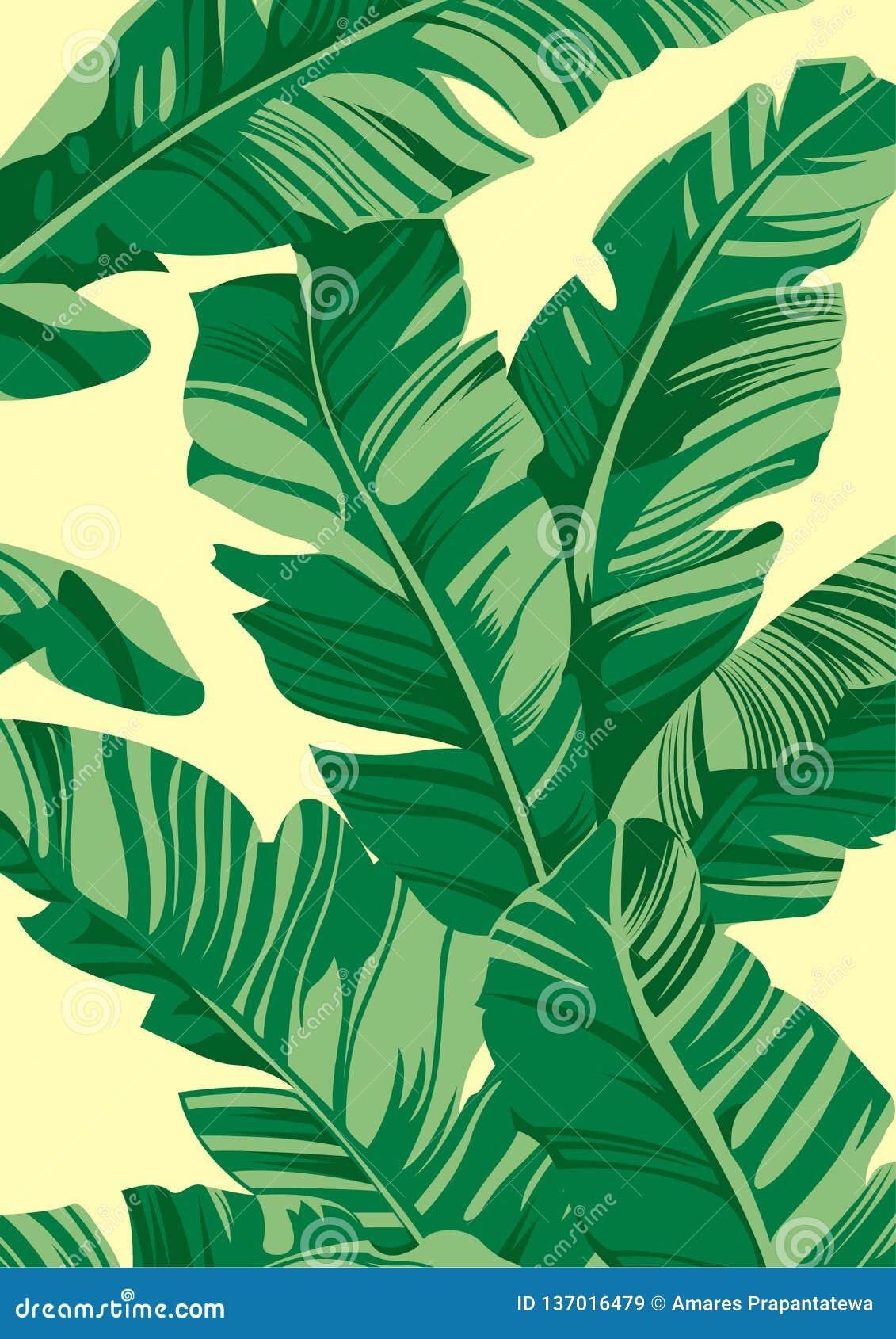 Tropische Musterbanane verlässt auf hellgelbem Hintergrund, flacher Linie Vektor und Illustration