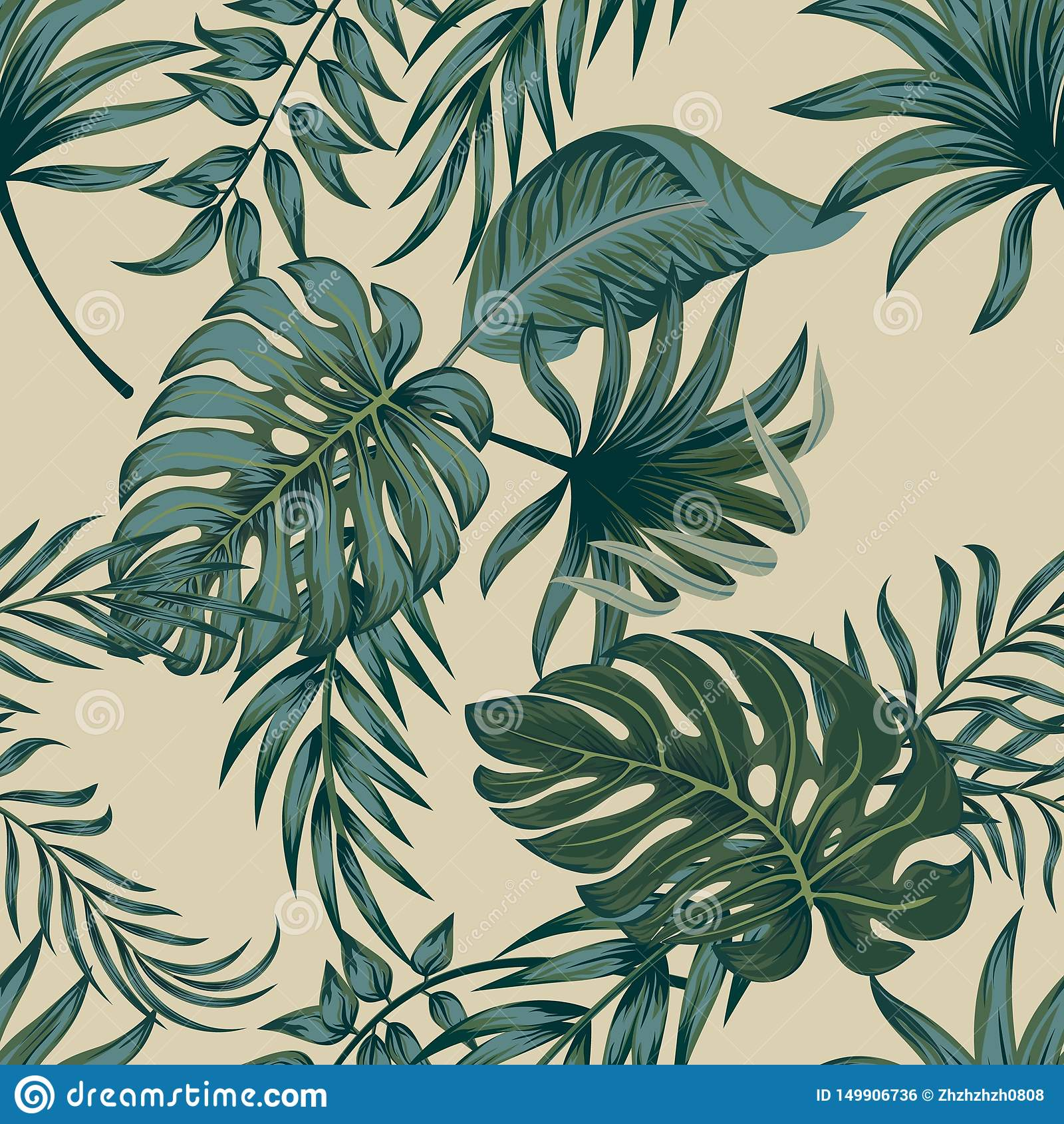Tropische Palmbl?tter, Dschungel verl?sst nahtlosem Vektor Blumenmuster-Hintergrund