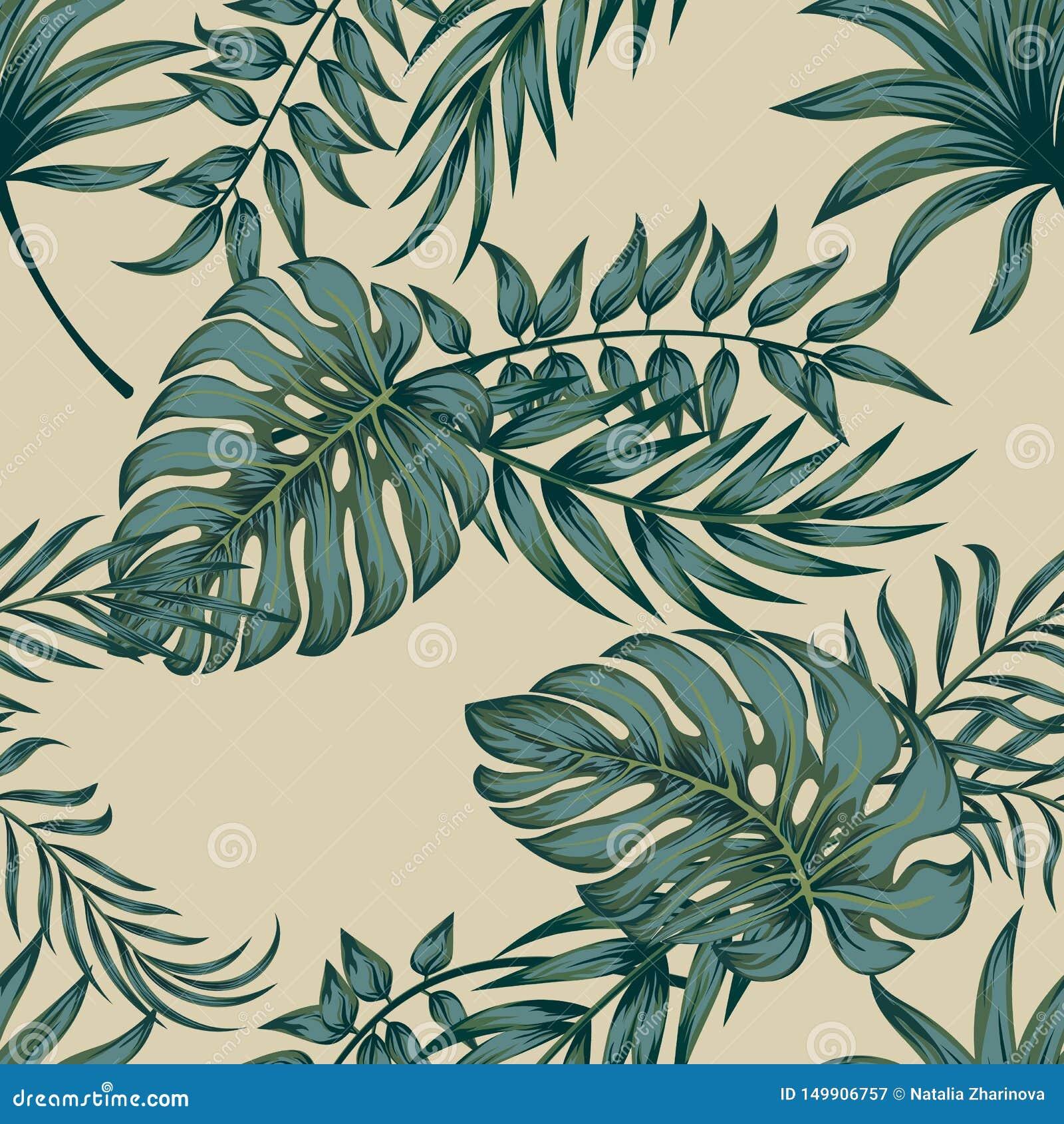 Tropische Palmbladen, Naadloze Vector Bloemen het Patroonachtergrond van Wildernisbladeren