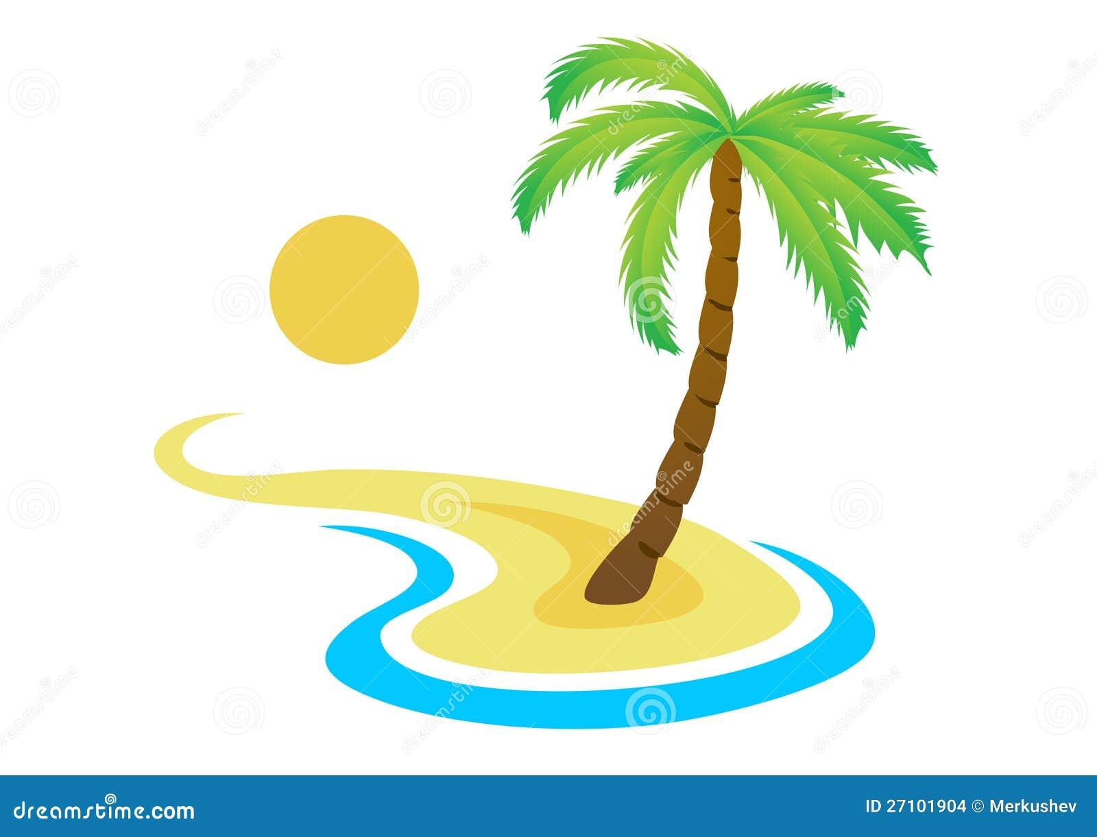 tropische palme auf insel mit meer vektor abbildung illustration 27101904. Black Bedroom Furniture Sets. Home Design Ideas