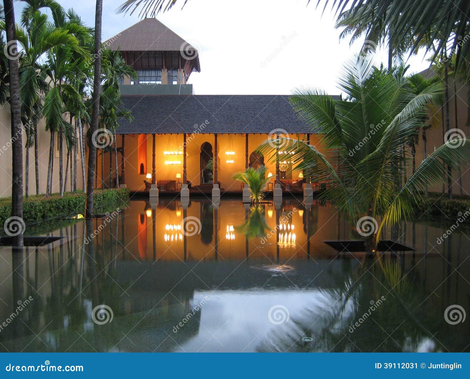 Tropische Toevluchthal die de Pool onder ogen zien