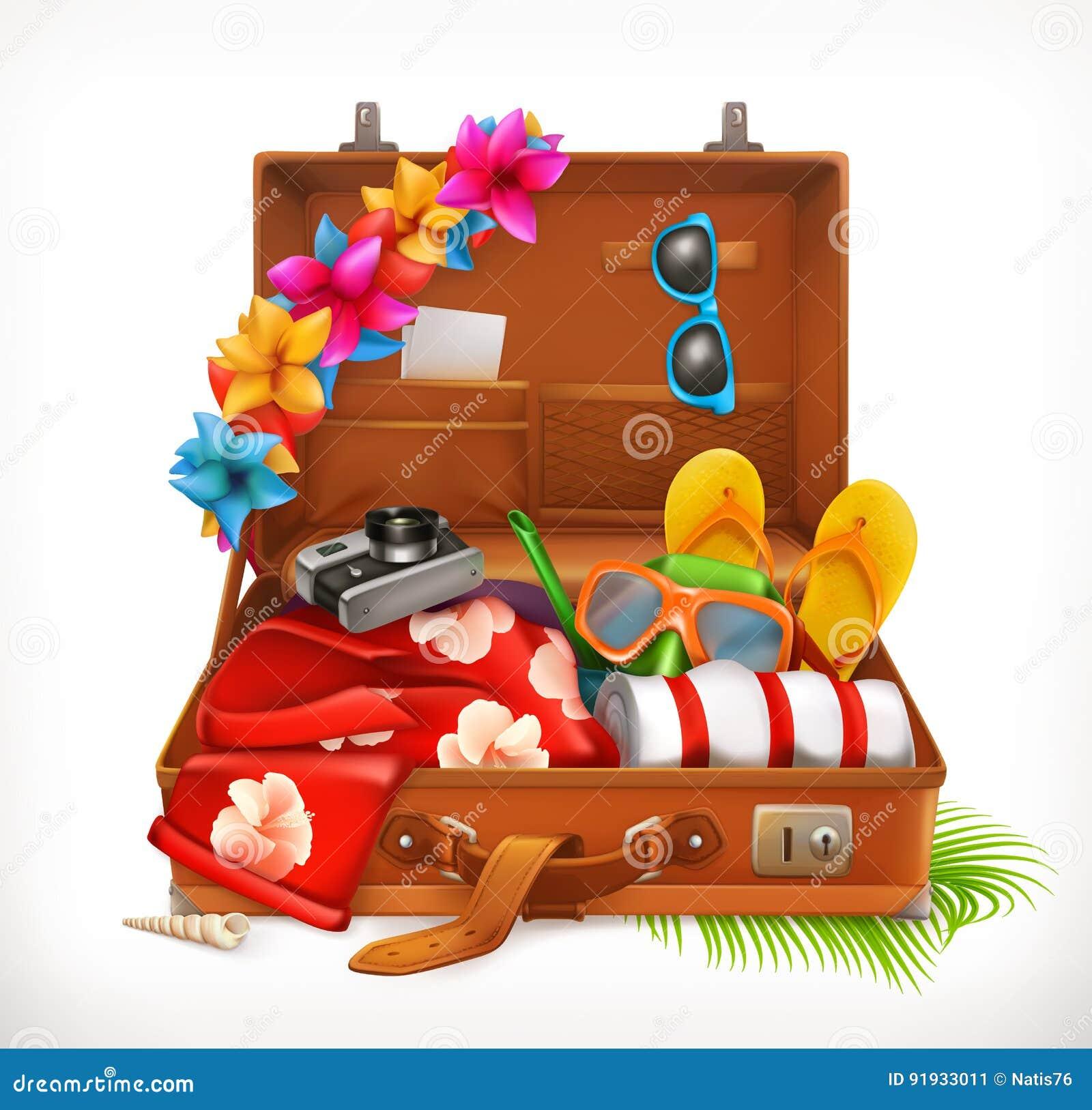 Tropische vakantie De zomervakantie, open koffer Het pictogram van toestellen