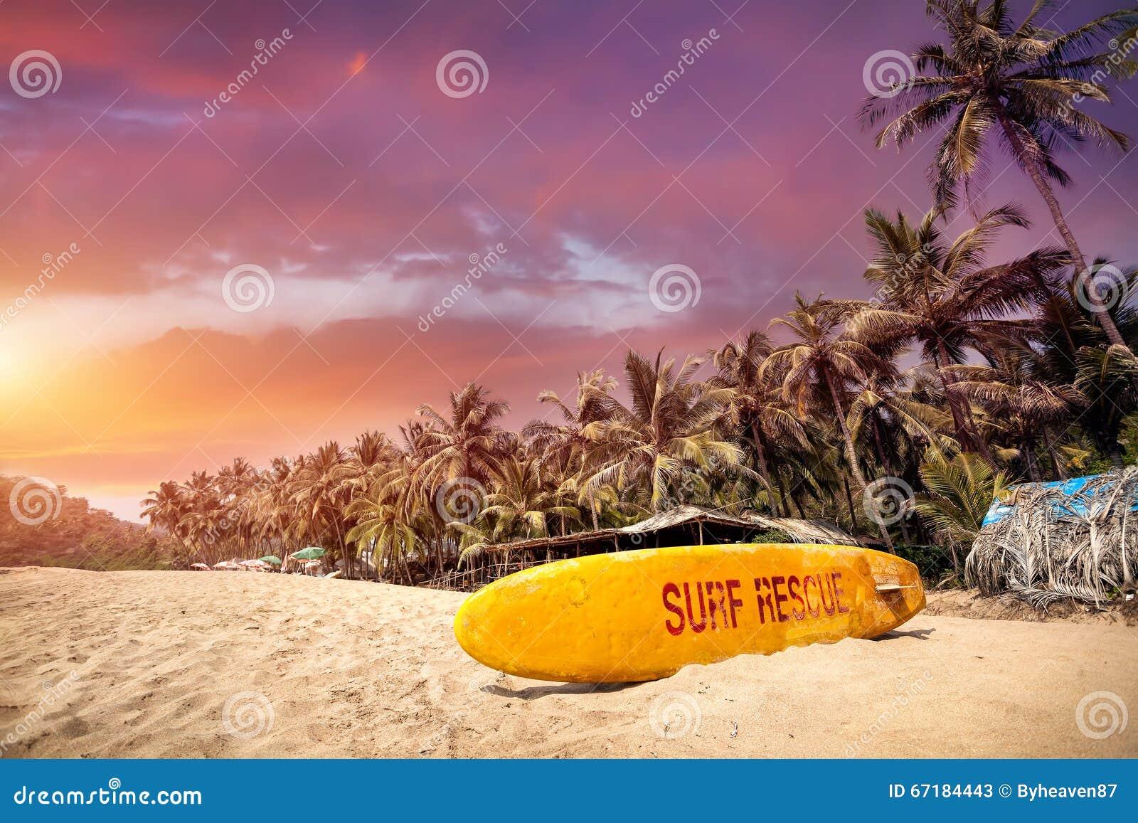 Tropische zonsondergang bij Goa-strand
