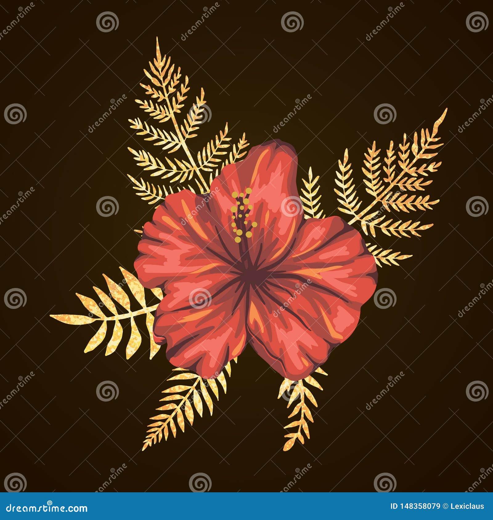 Tropische Zusammensetzung des Vektors von Hibiscusblumen mit goldenen strukturierten Blättern auf schwarzem Hintergrund Helle rea